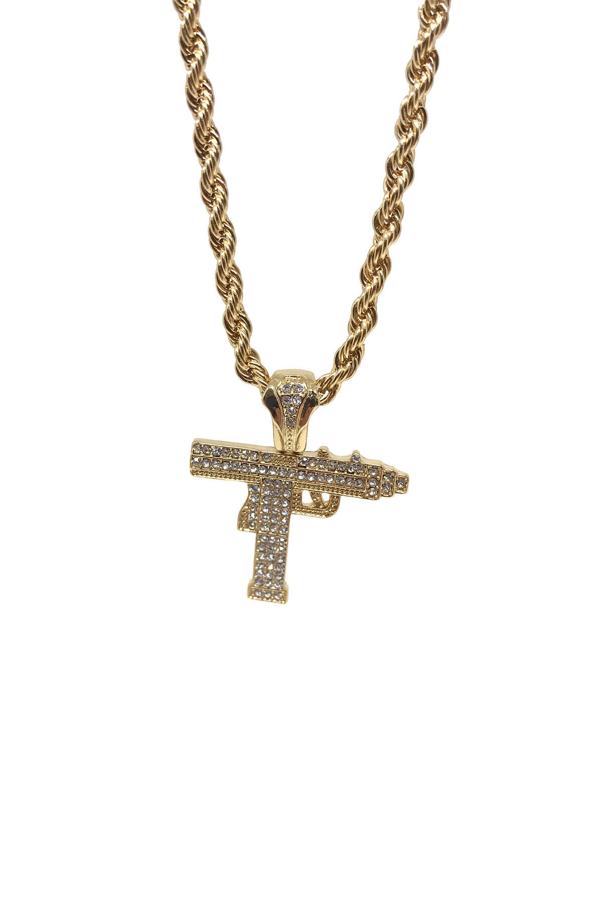Image of Gold Iced Out Uzi Necklace