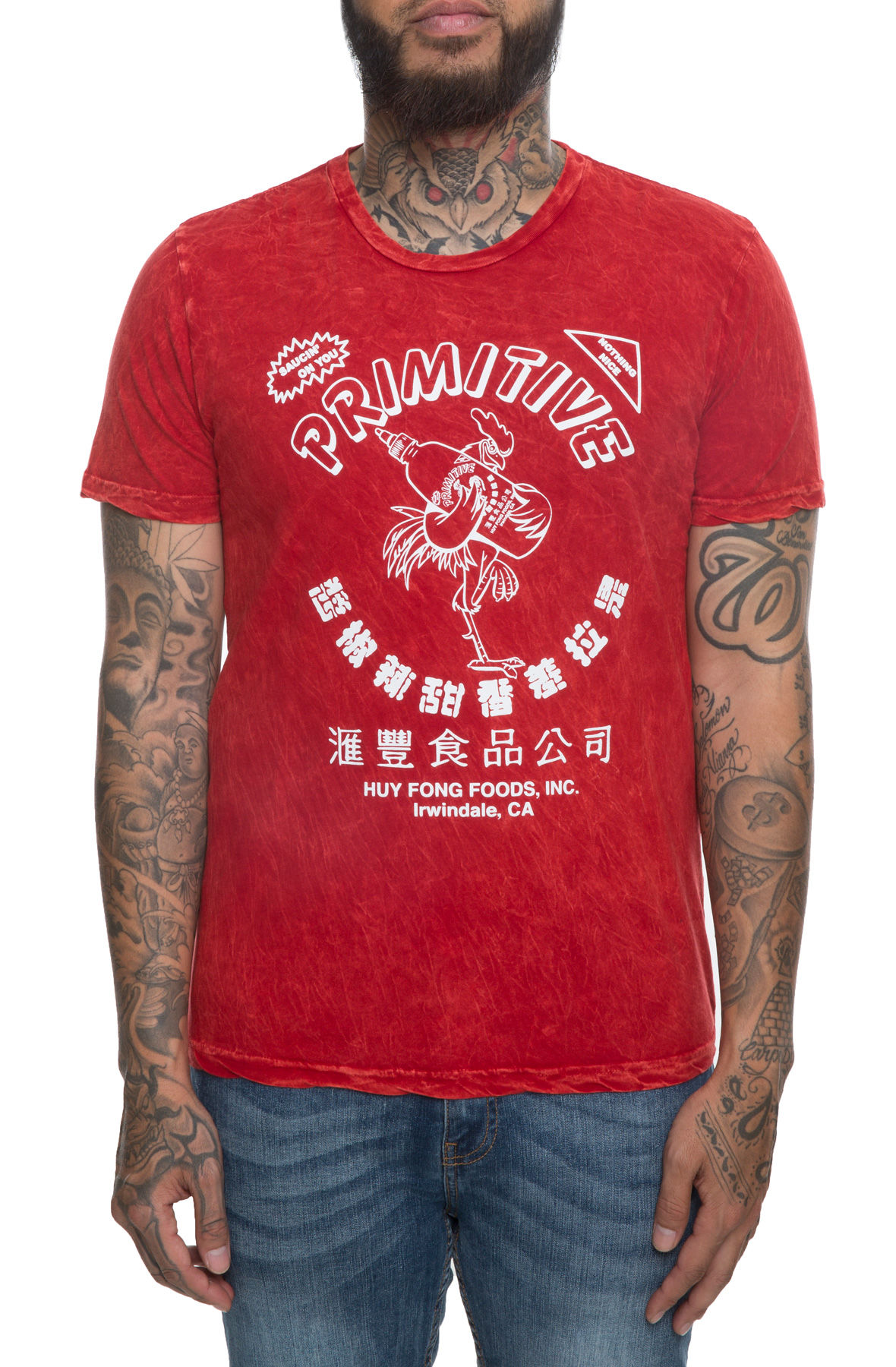 The Primitive x Huy Fong Tie-Dye Tee in Red