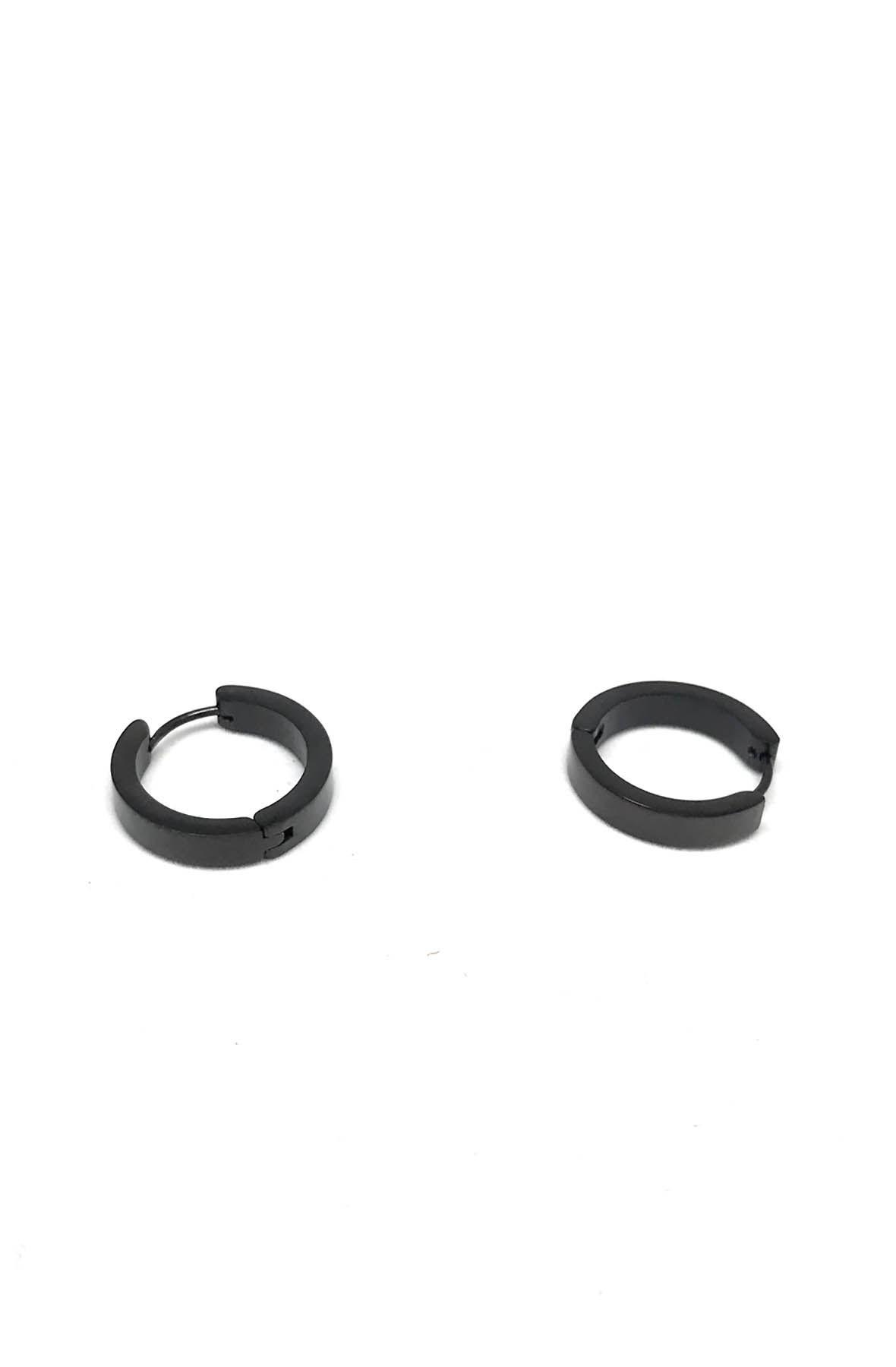 Stainless Steel Black Hoop Earrings Big