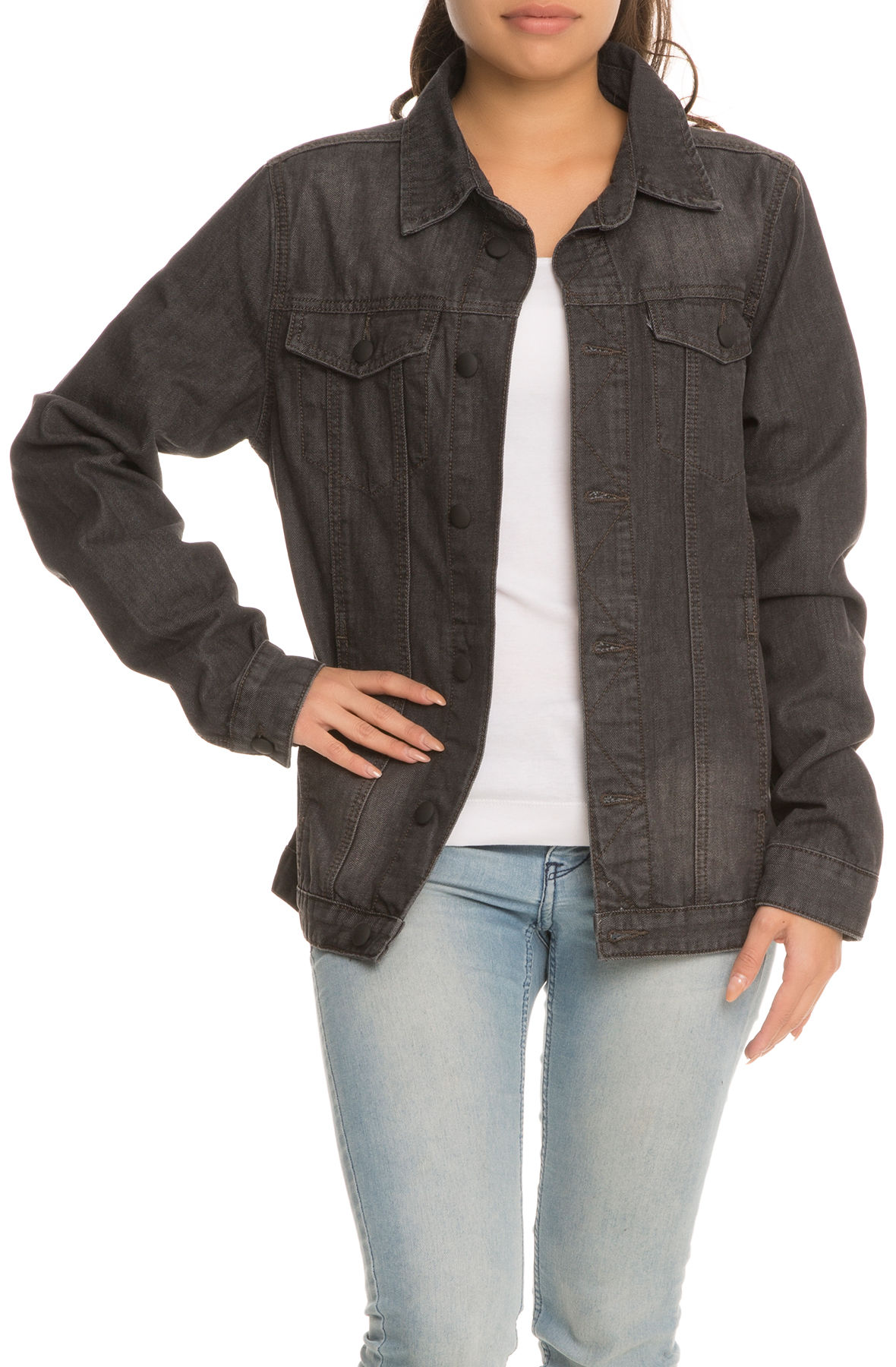 Image of The Tripled Womens Bleached Jean Jacket in Black
