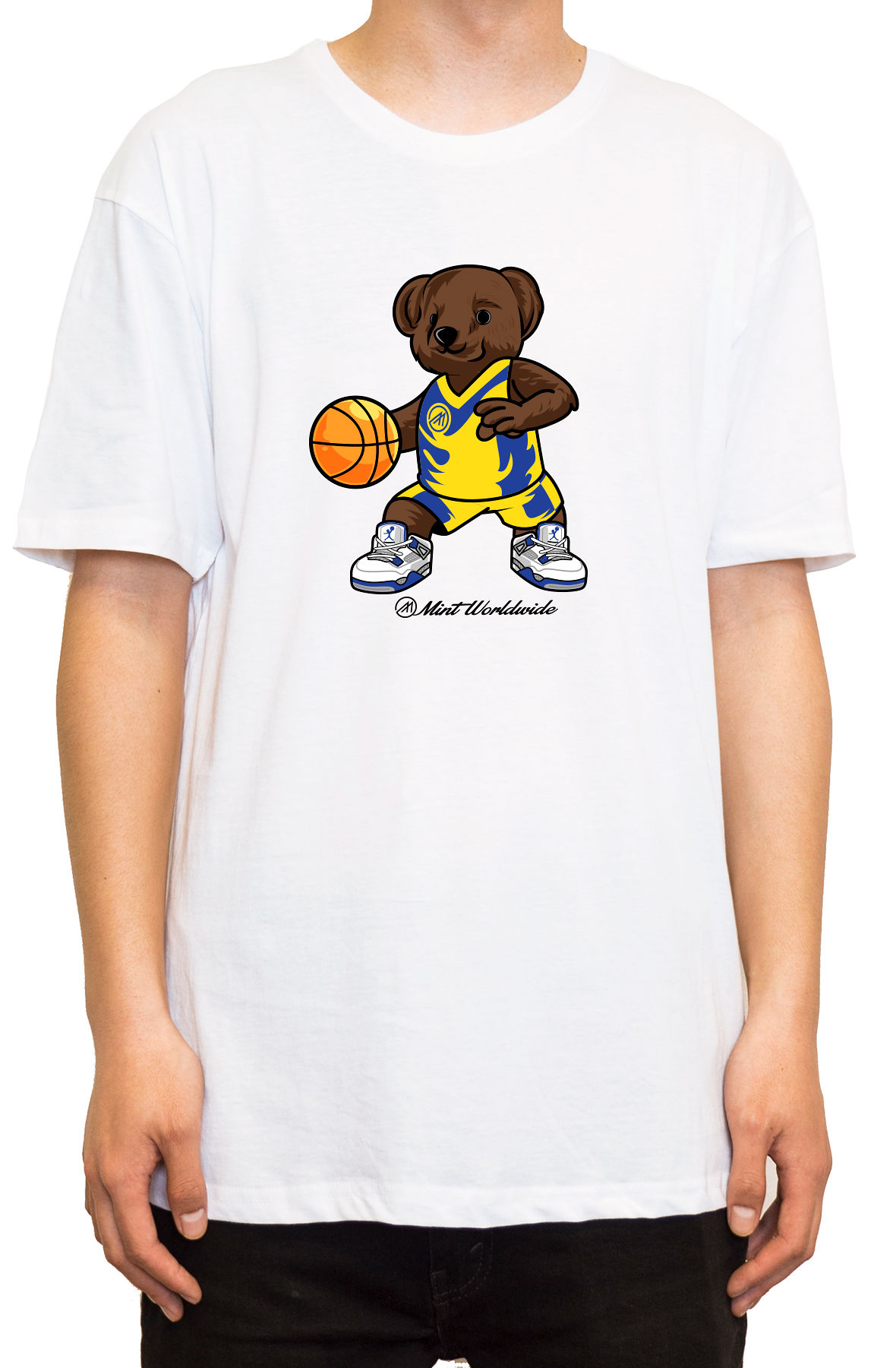 """BasketBall Bear T-shirt """" White"""