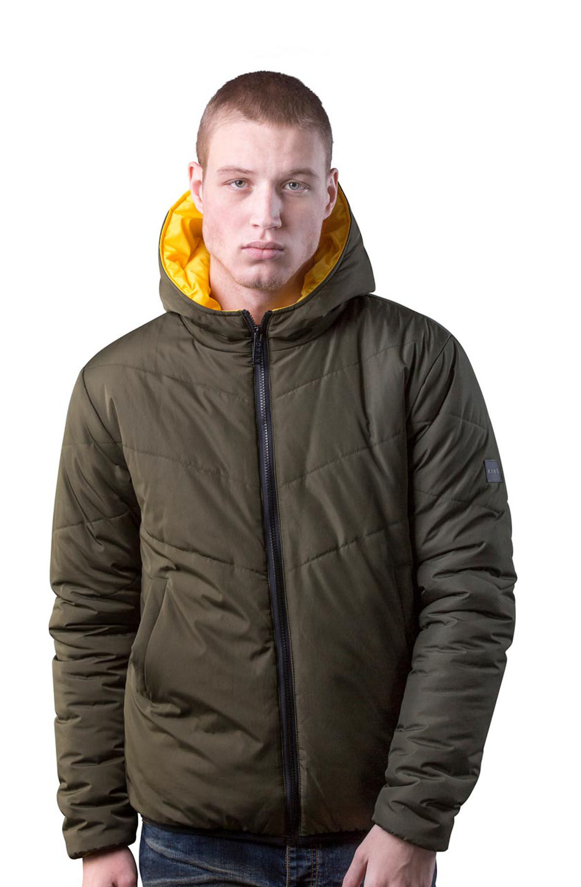 Image of Blackwall Reversible Down Jacket - Citrus/Fern