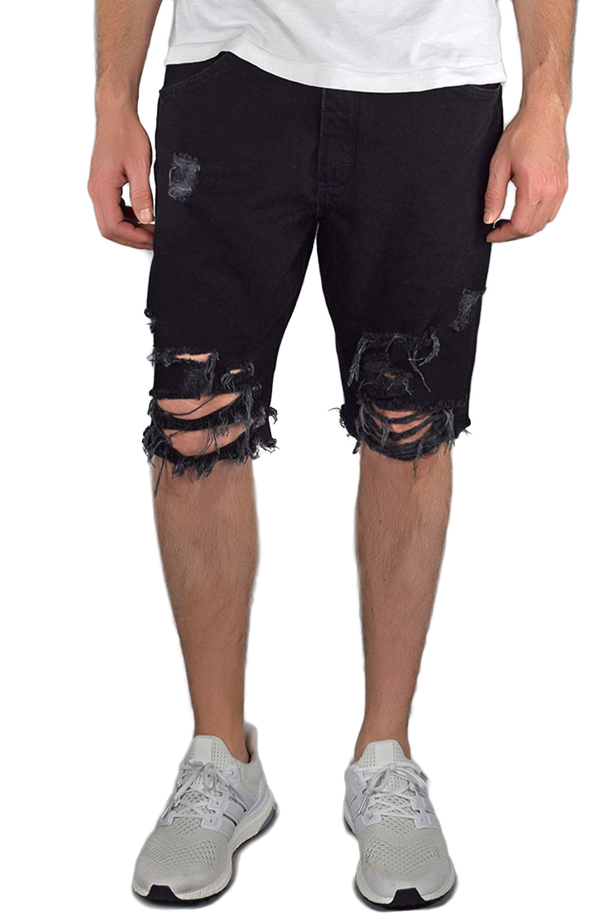 Image of The Ripped Jean Shorts in Black