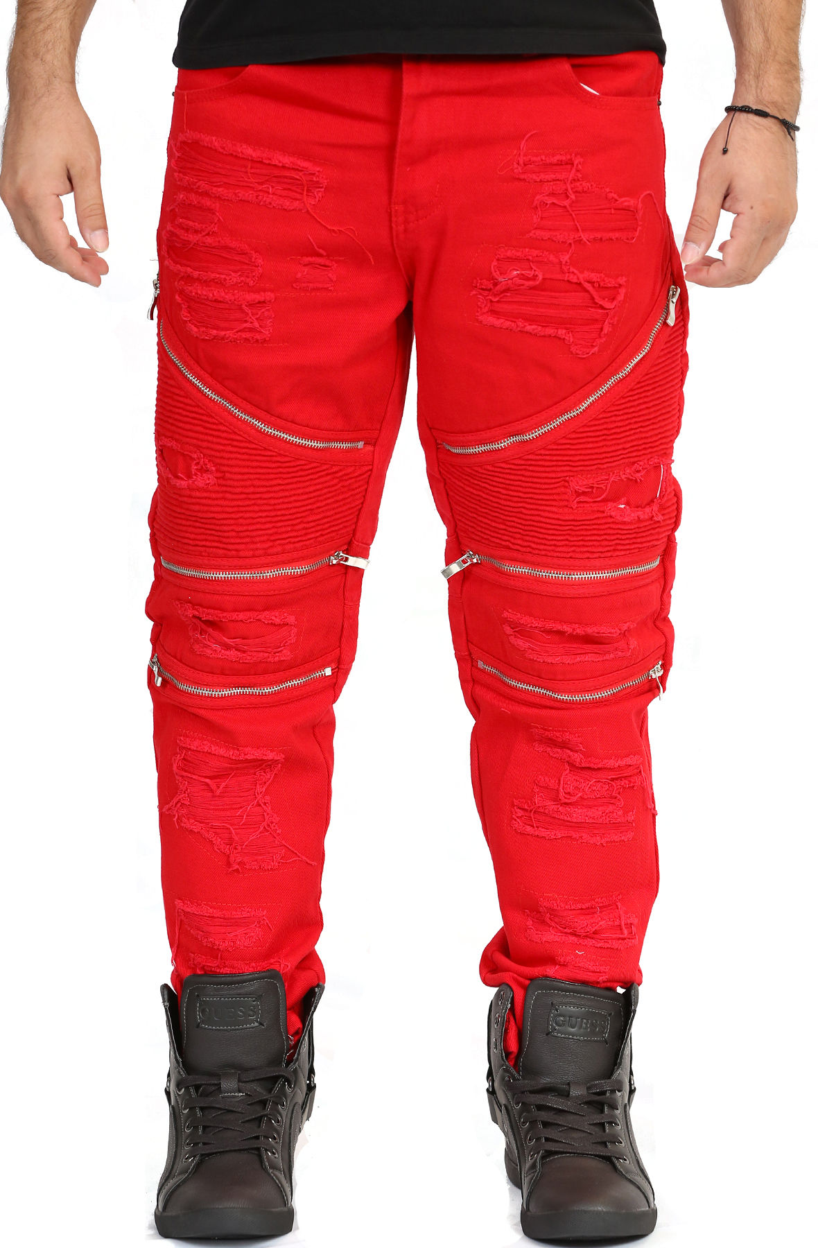 Image of Distressed Biker Jeans Red