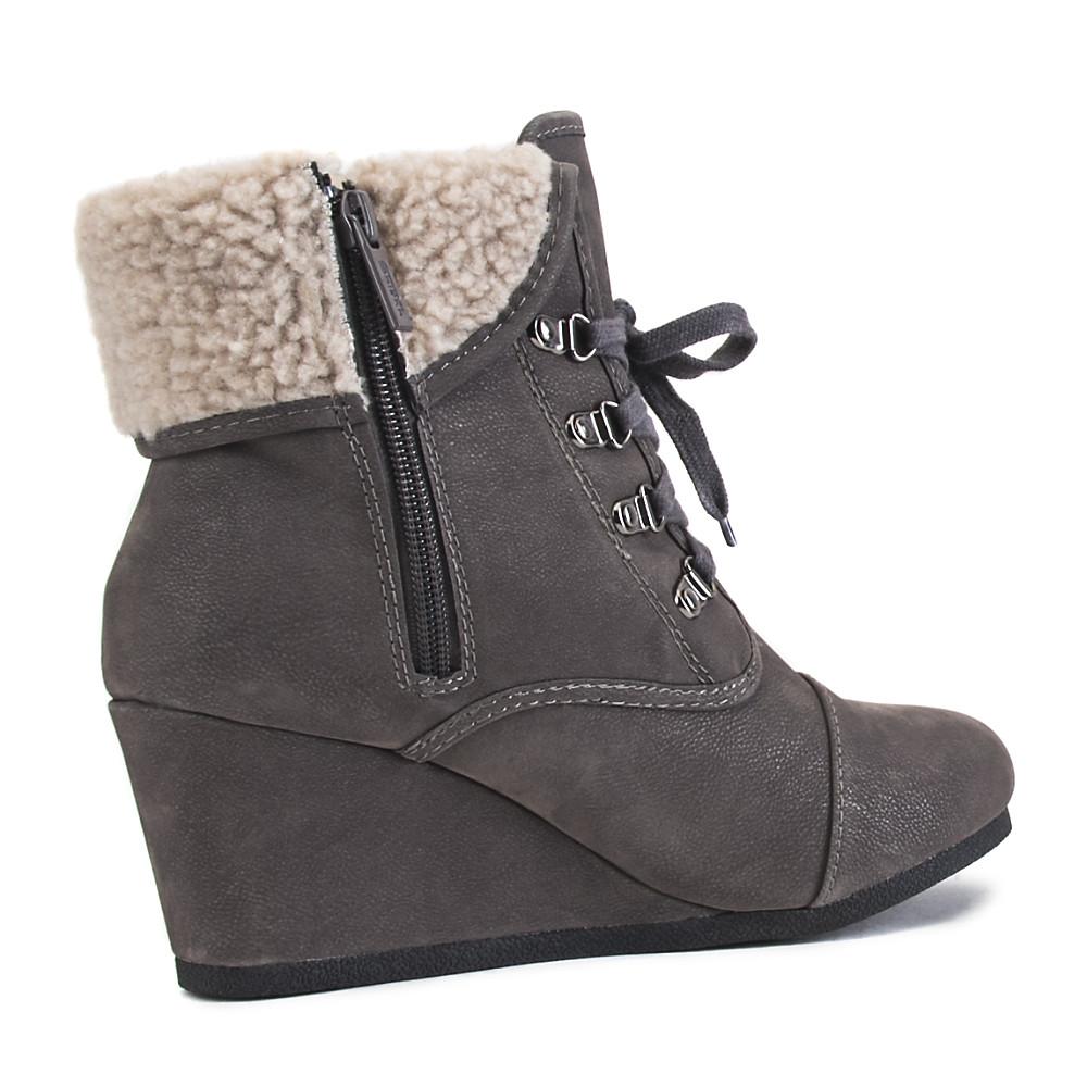 women's fur wedge ankle boot nast-s