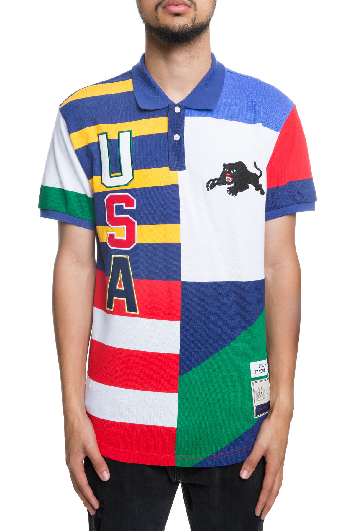 Image of The USA Crew SS Polo in Flag Multi