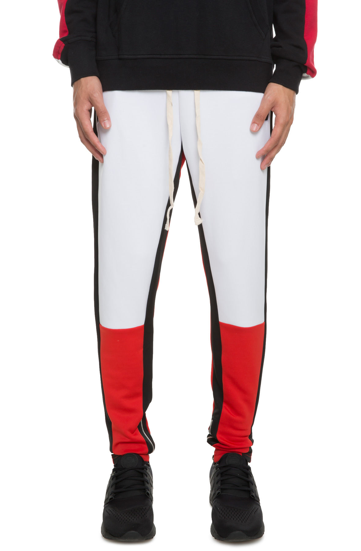 Image of The Mayne Track Pant in Red and White