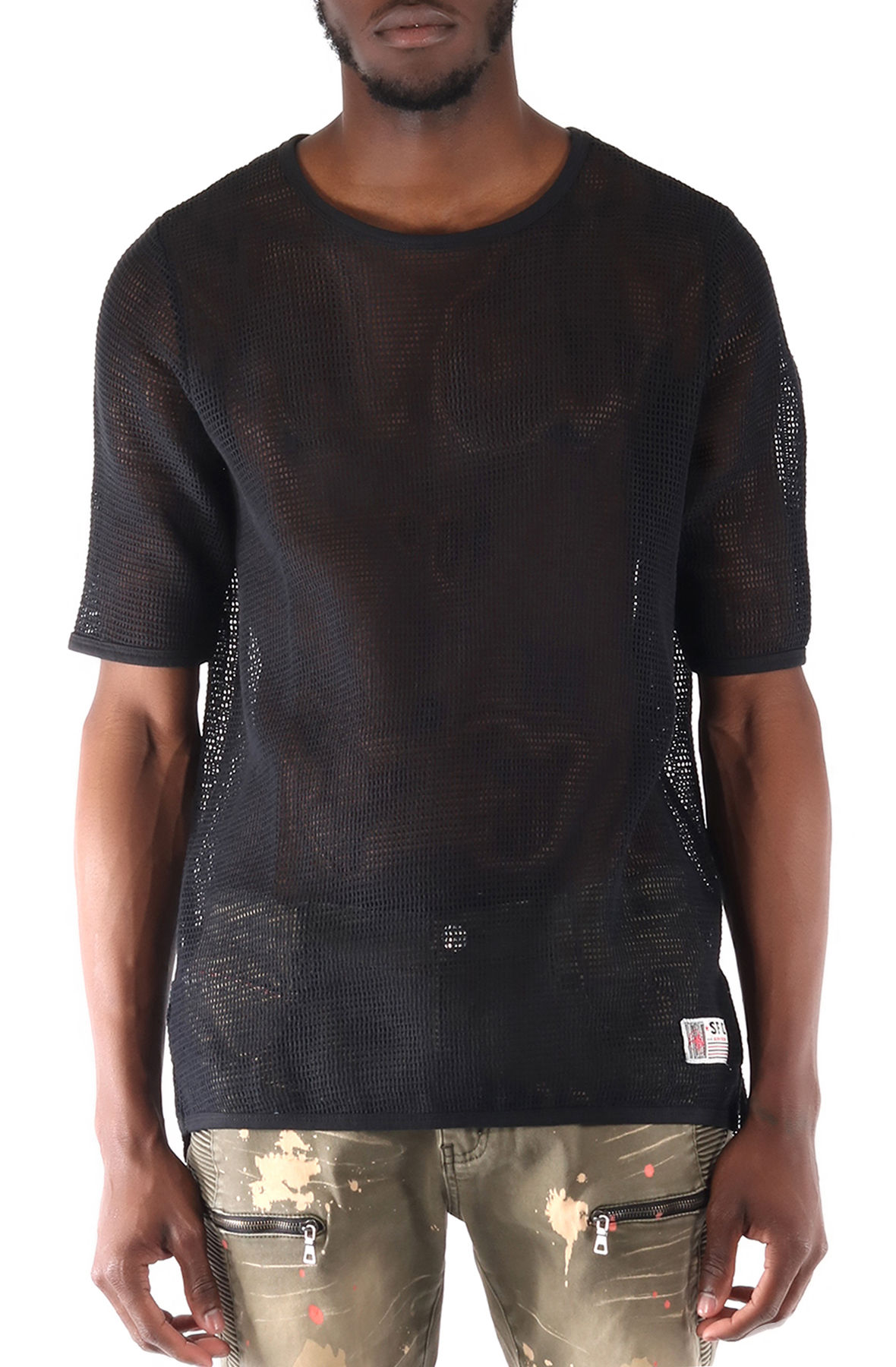 Image of SquareZero Premium Cotton Mesh T-shirt With Finely Finished Edge In Black