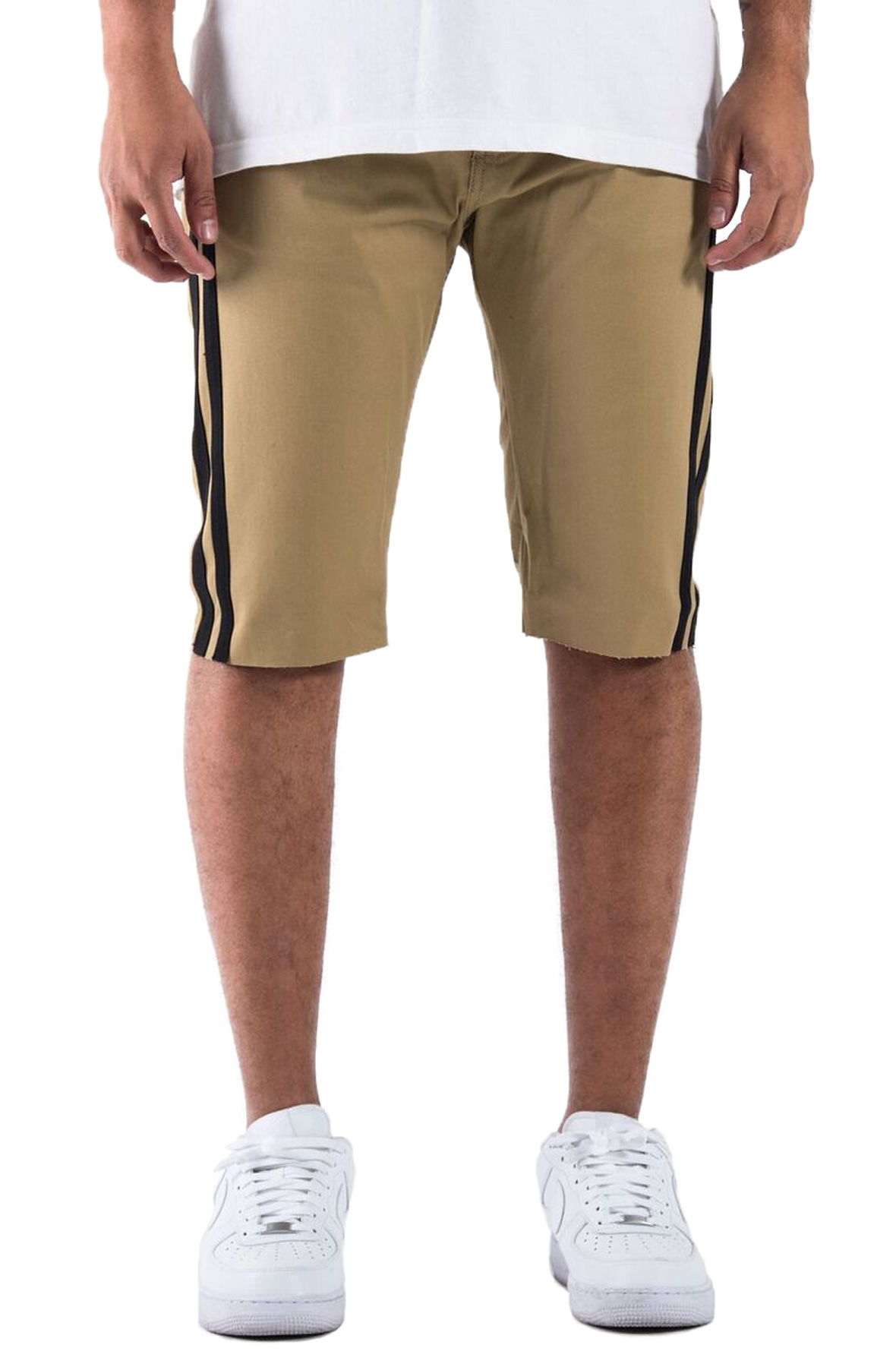 The Union V2 Trofeo Track Striped Shorts in Tan and BLack