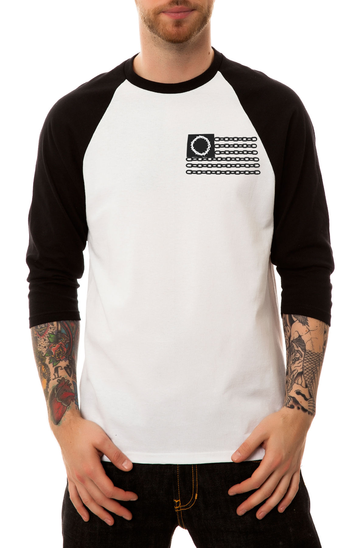 Image of The Bondage Raglan in Black and White (Black Sleeves)