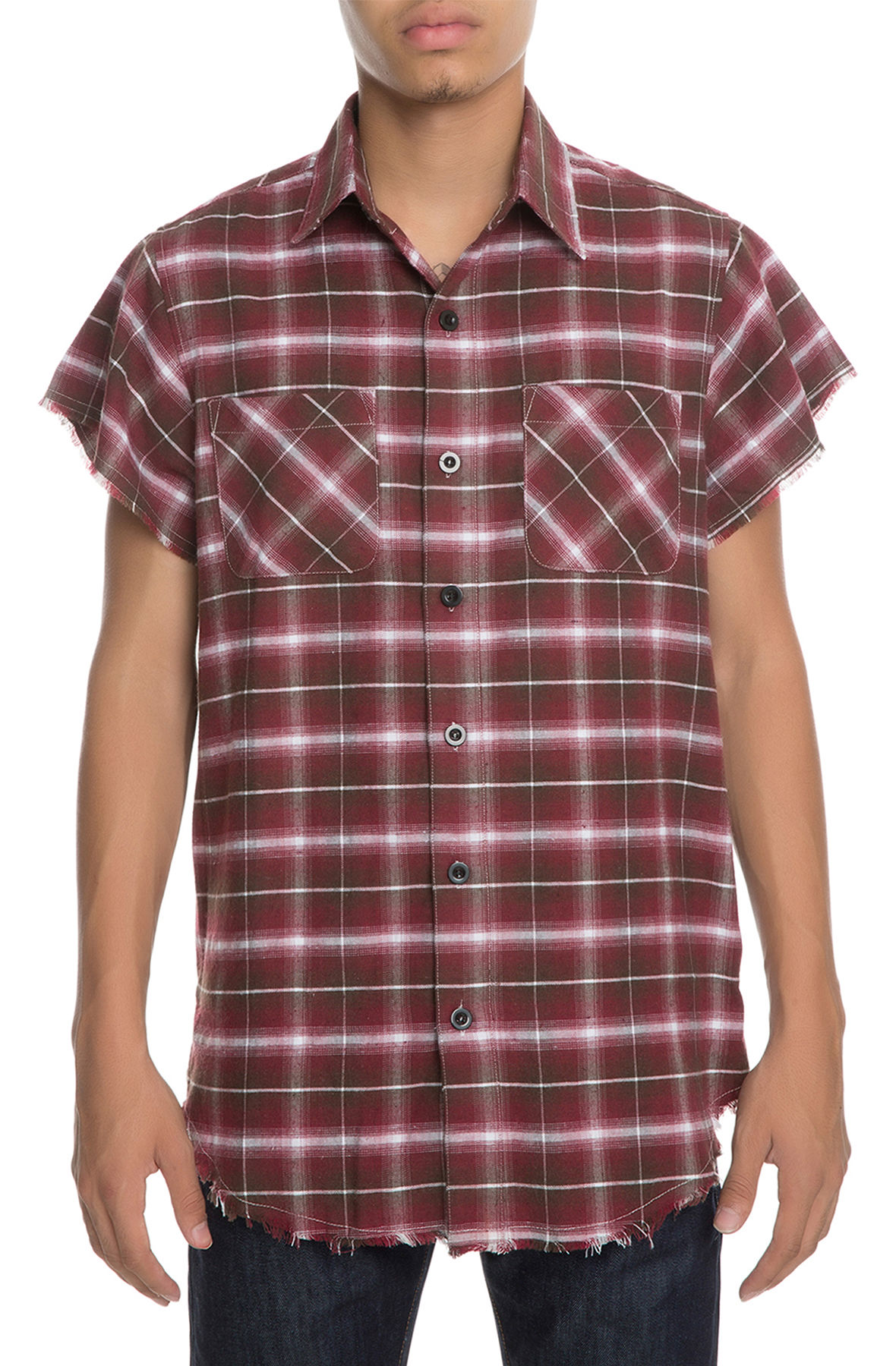 Image of The Billsup Short Sleeve Button Down Shirt in Red