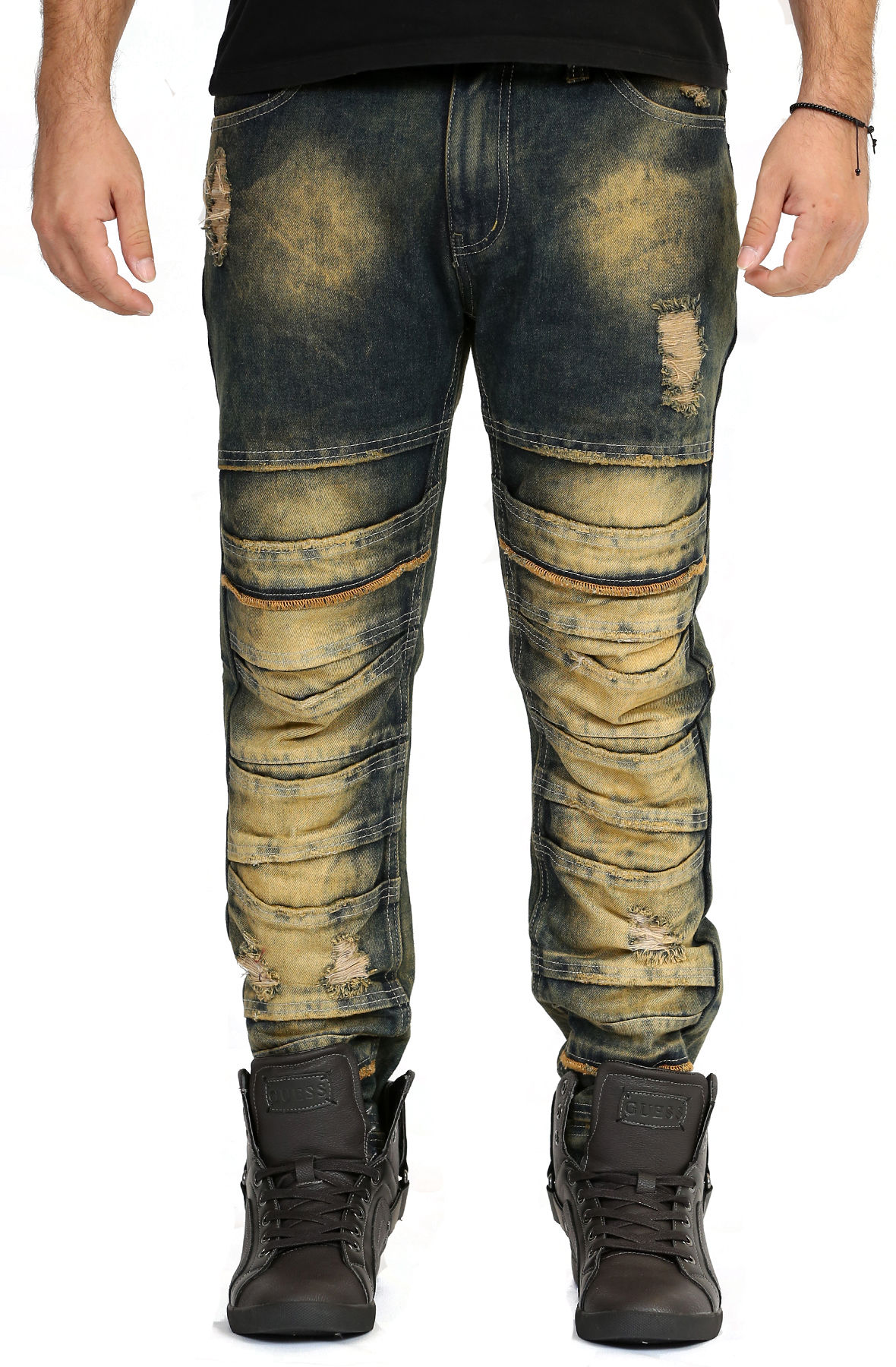 Image of Distressed Stacked Jeans in Sand