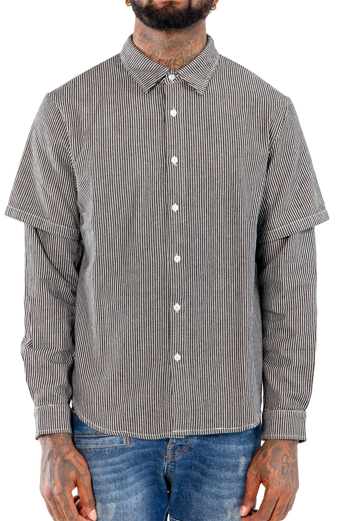 Image of Reversed Short Long Button Up