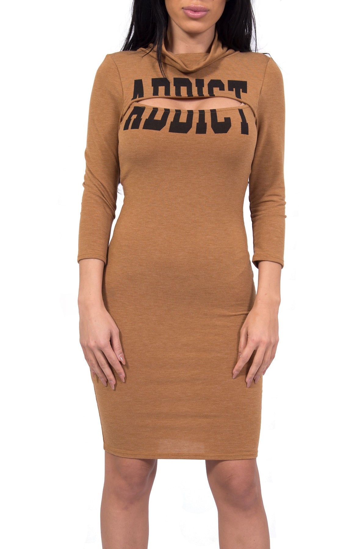 Image of Addict Slit Dress in Brown