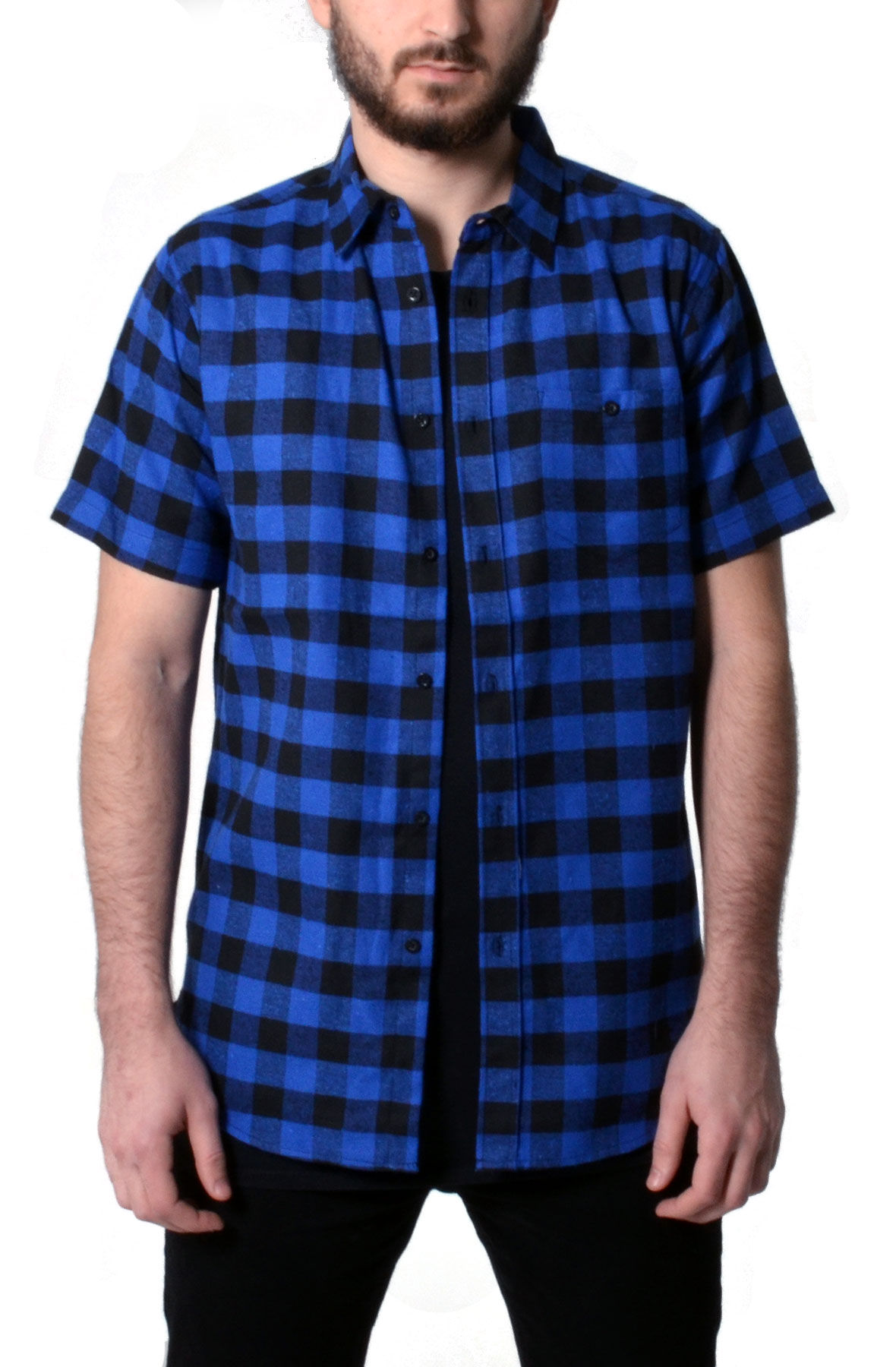Image of Blue and Black Short Sleeve Checkered Shirt