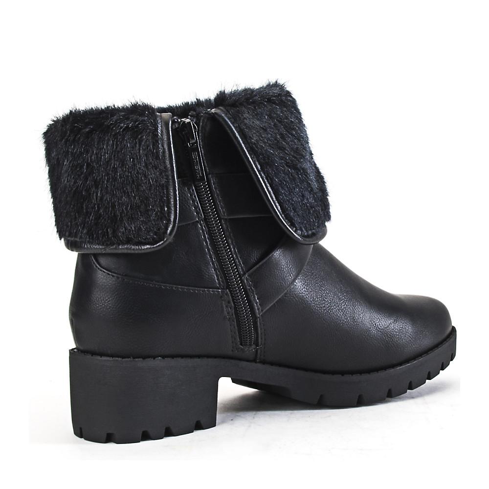 women's low heel fur ankle boot eris-s