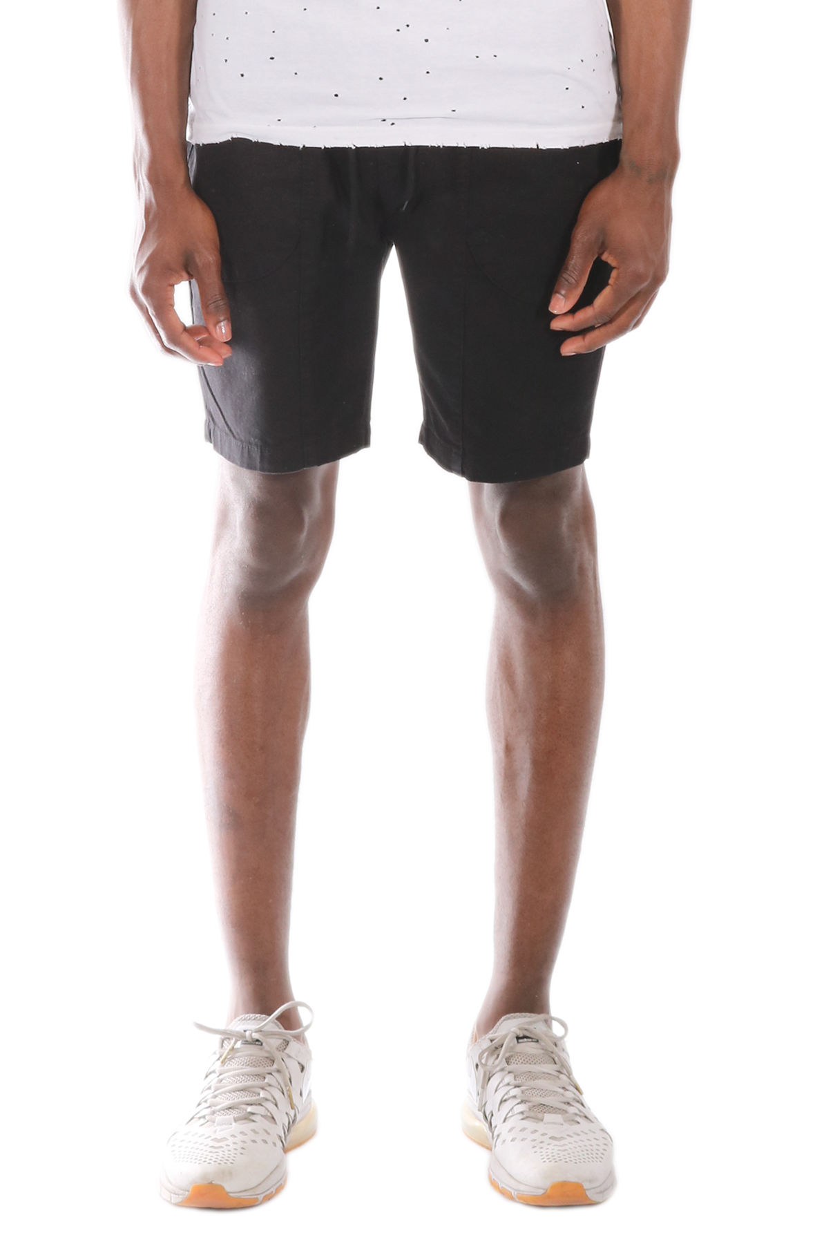 Image of The Allston Cotton Twill Metal Zipper Trim Elastic Banded Shorts in Black