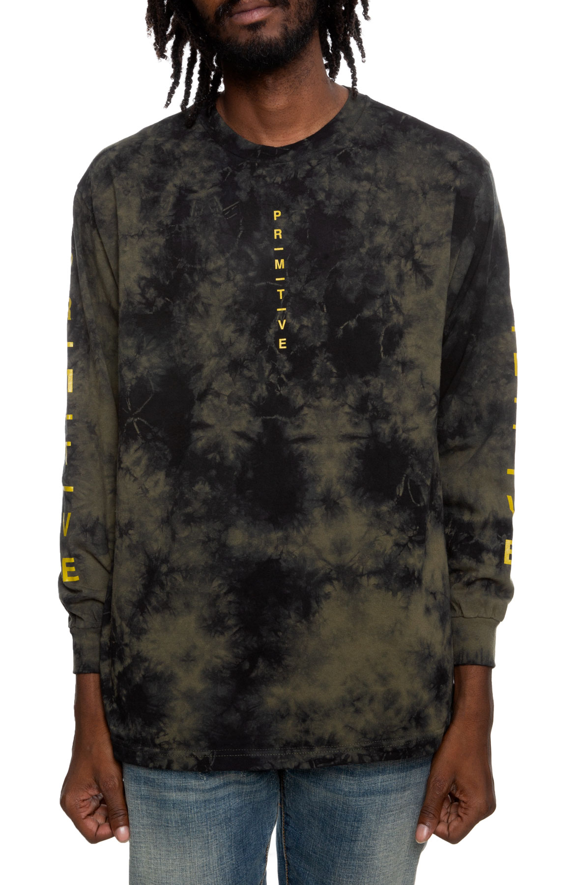 moods washed long sleeve tee in military green wash