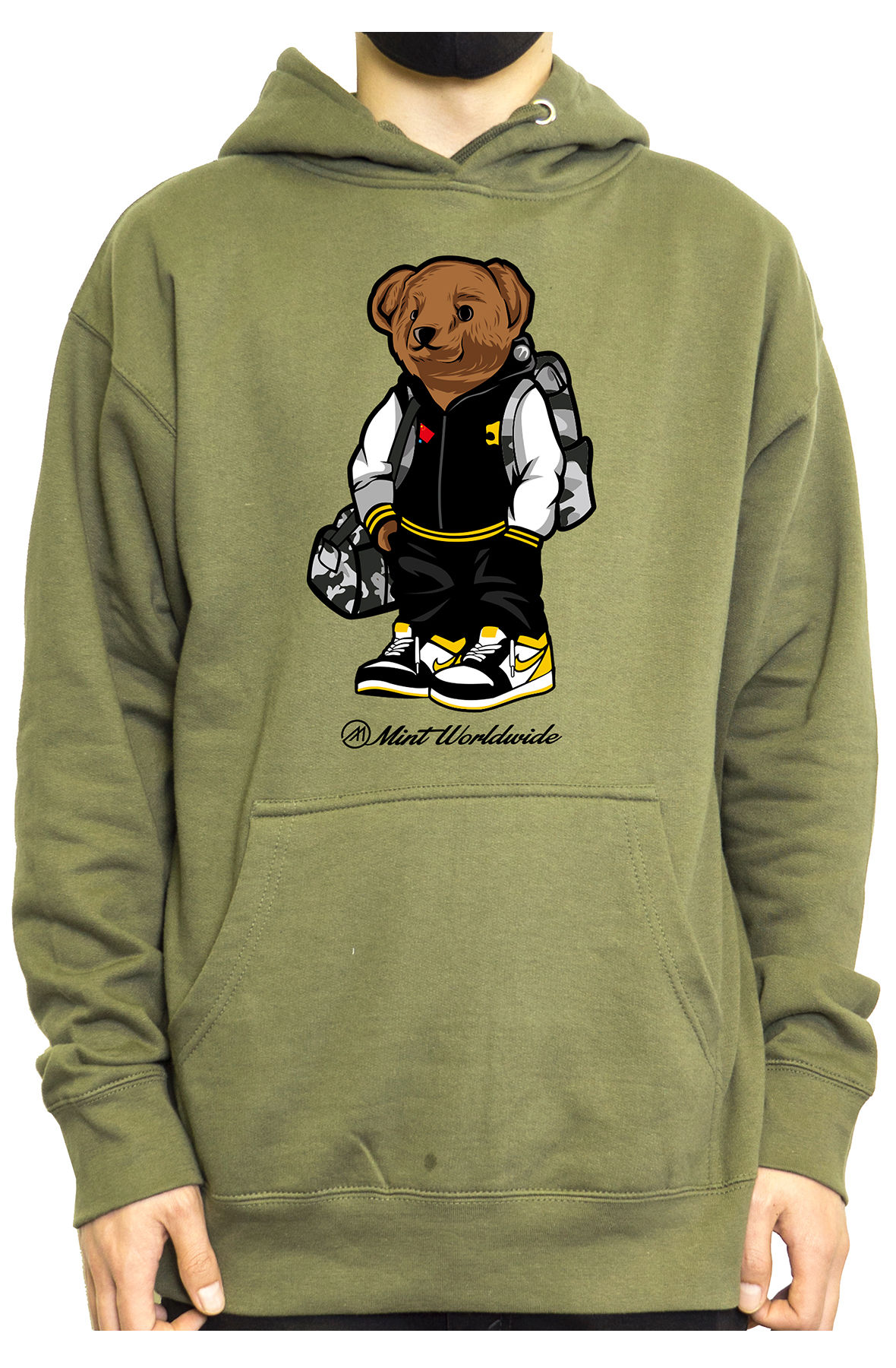 Mint Hoodie Bear Hoodie - Olive
