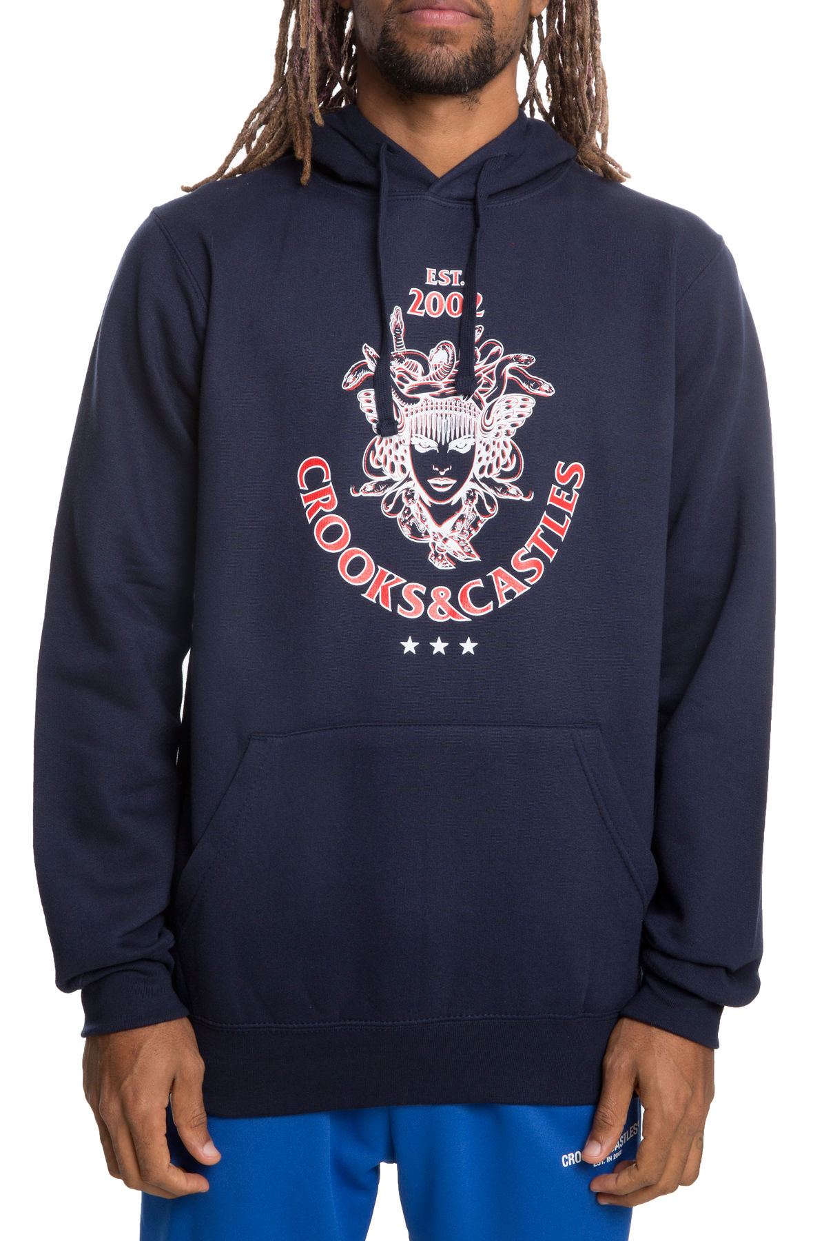 Image of The Unmasked Medusa Pullover Hoodie in Navy