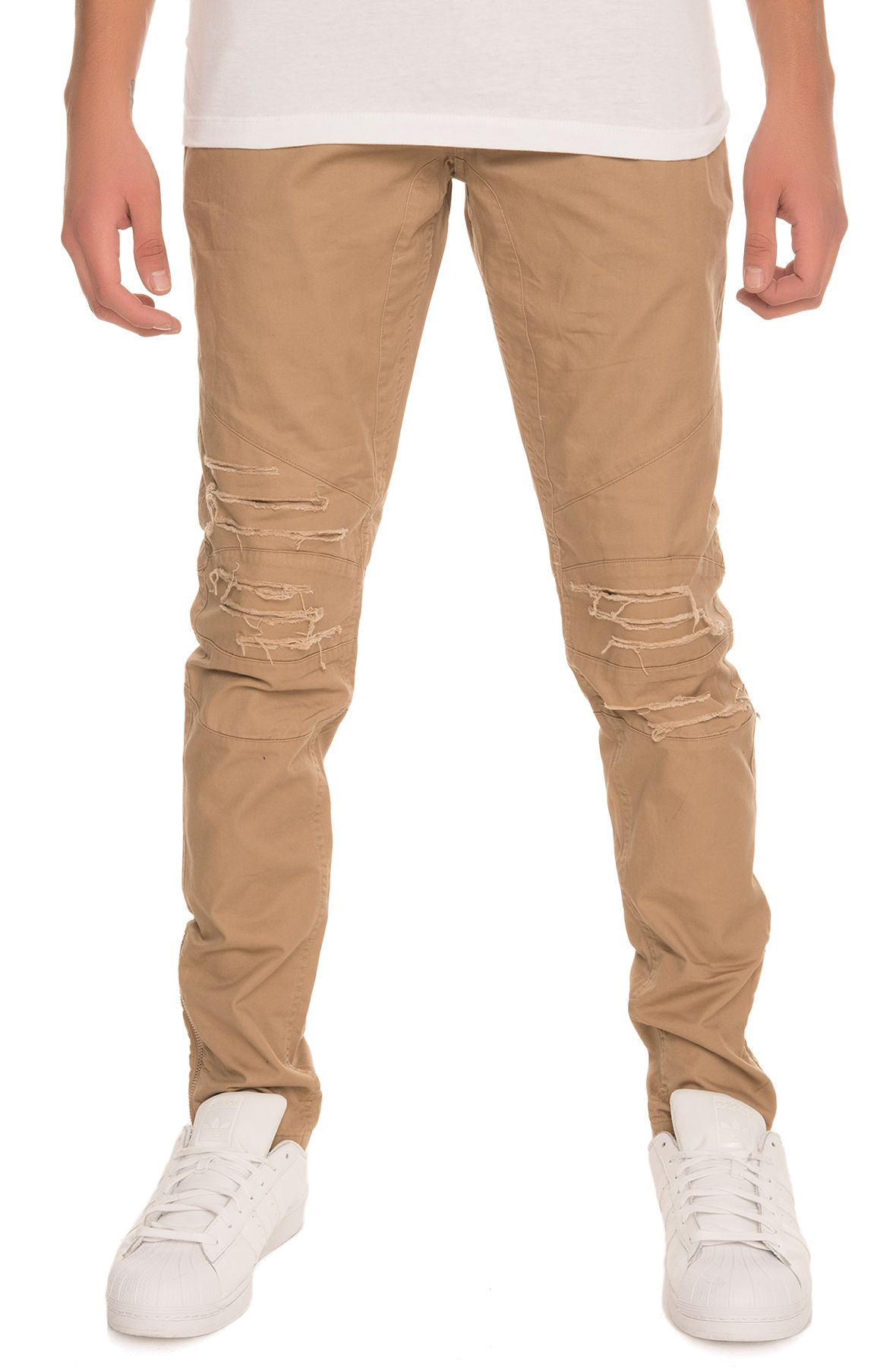 Image of The Distressed Biker Pants in Crme
