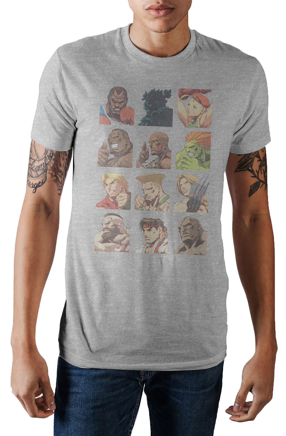Image of The Capcom Street Fighter Vintage Character Grid tee in Grey