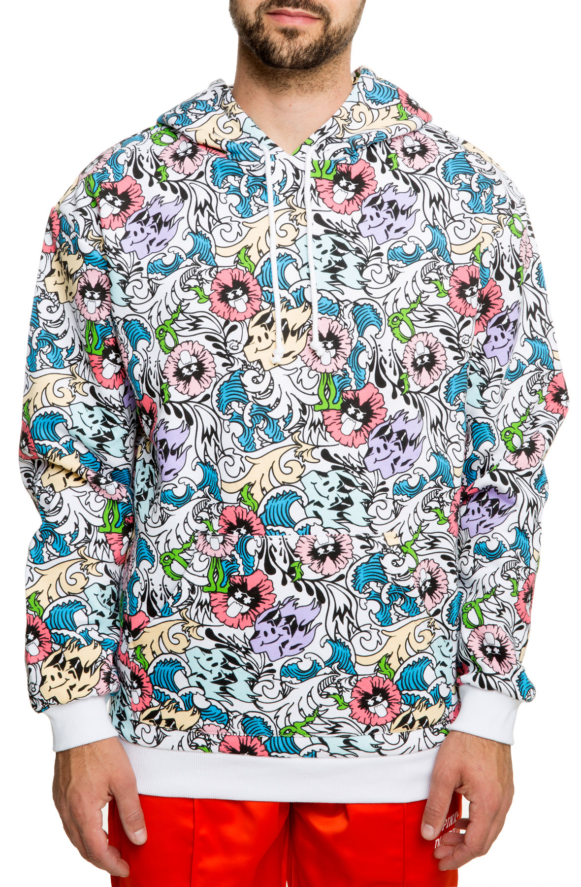 Image of The Wave Floral Hoodie in White