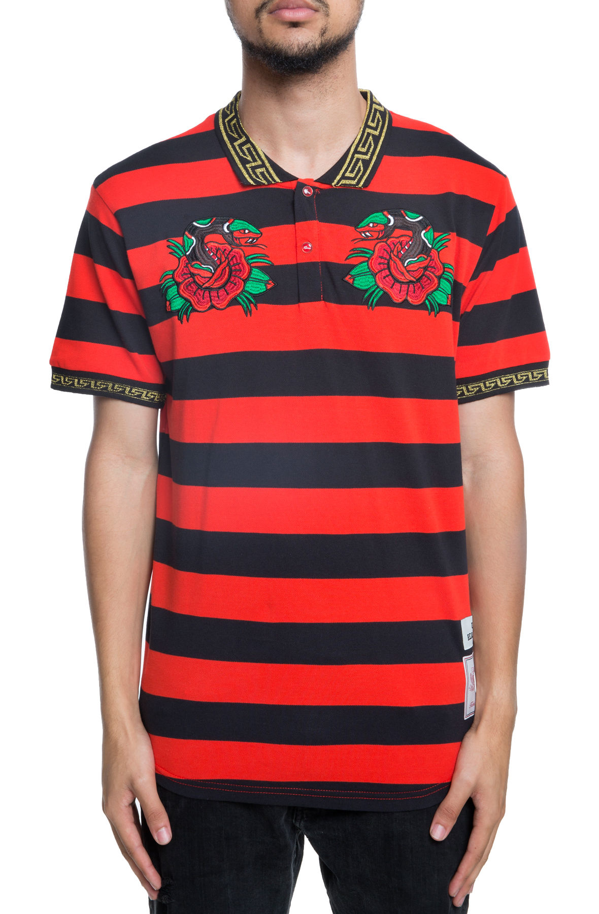 Image of The Venom Striped Polo in Red