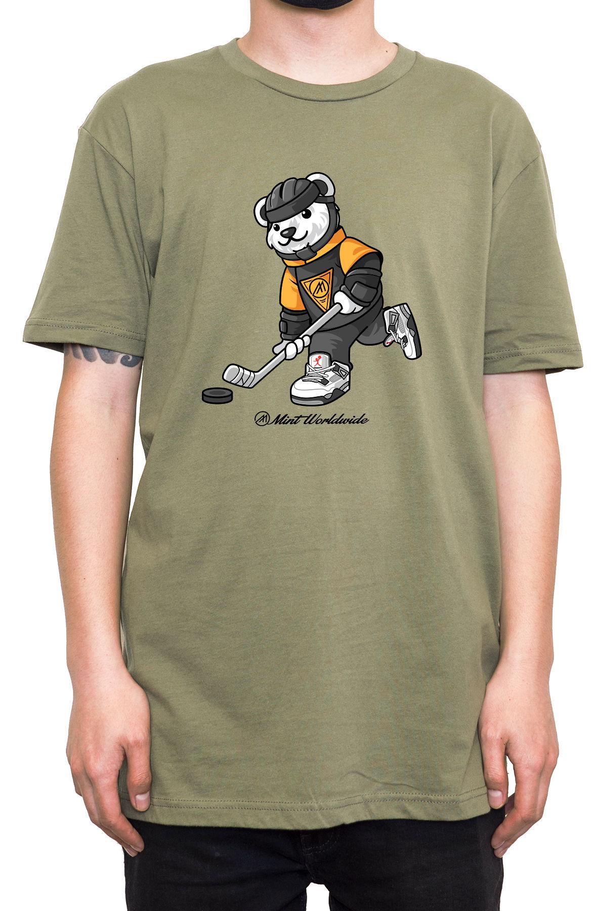 """Hockey Bear T-shirt """" Army Green"""