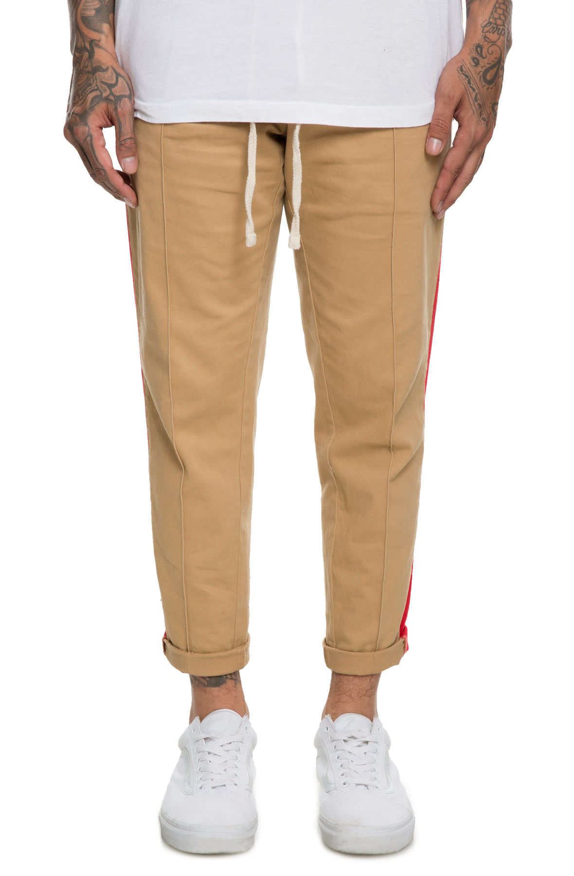 The Cropped Striped Trousers in Tan and Pink