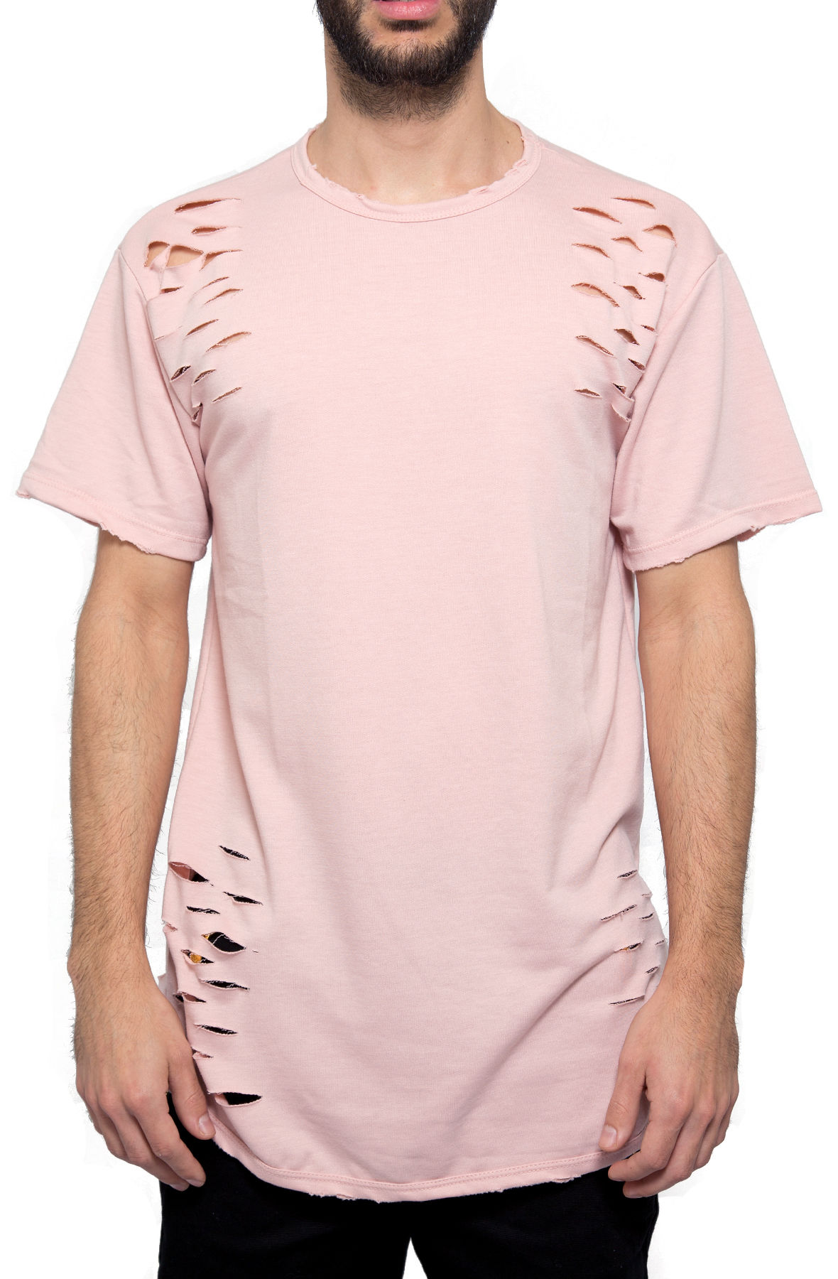 the elongated distressed tee in pink
