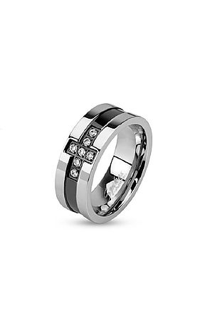 the two tone cross band ring - silver & black