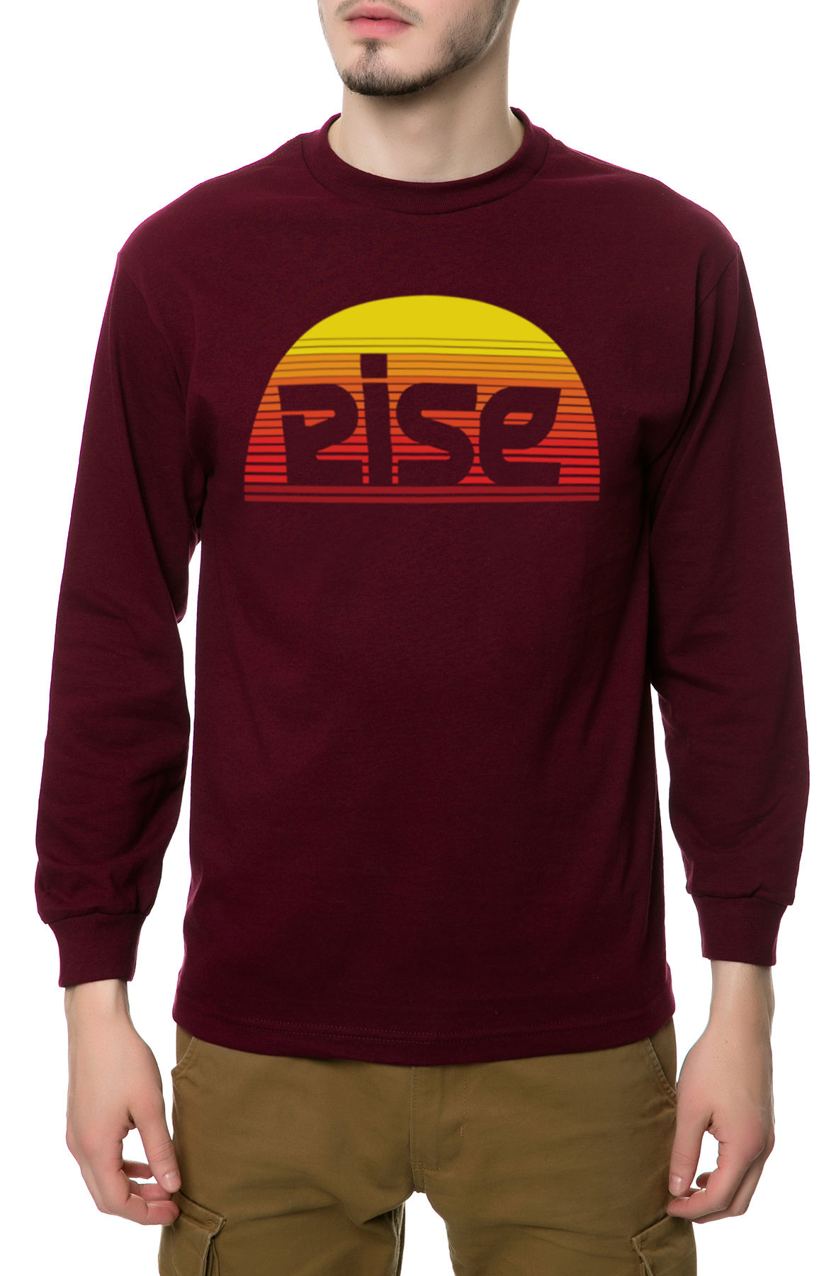 Image of The Sunrise Long Sleeve Tee in Burgundy