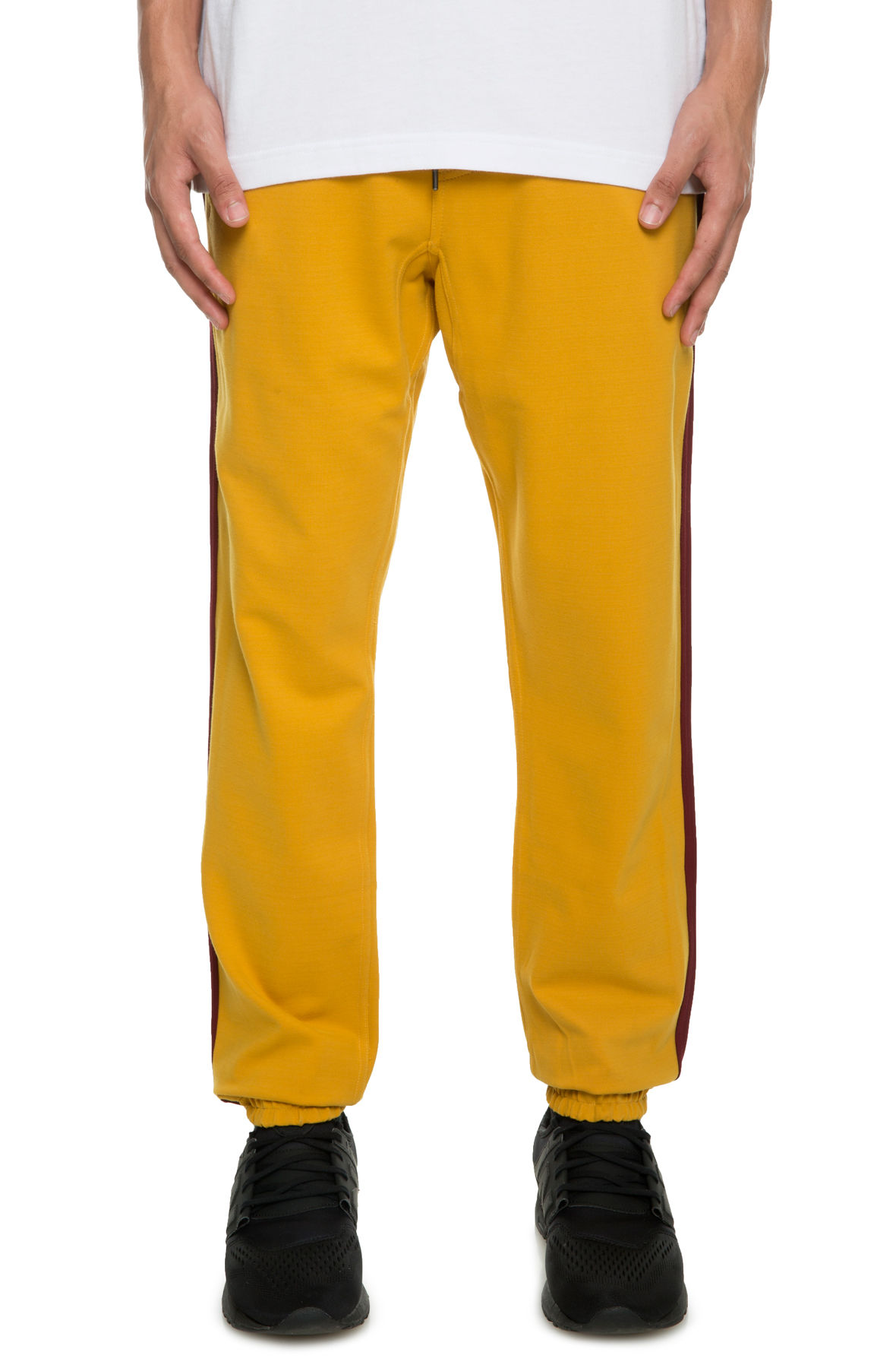 Image of The Wyatt Knit Track Pants in Mustard and Burgundy
