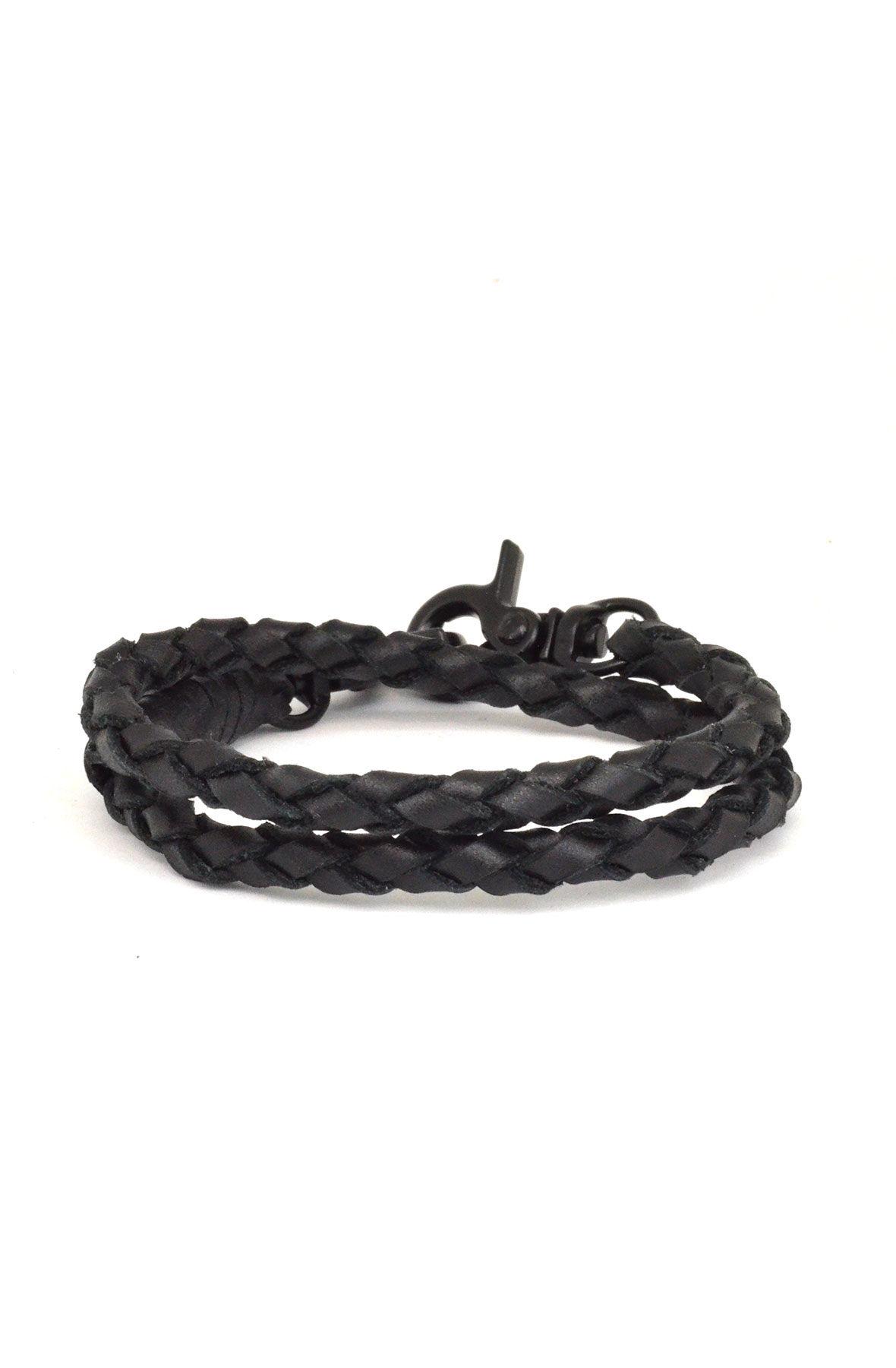 black wrap leather bracelet