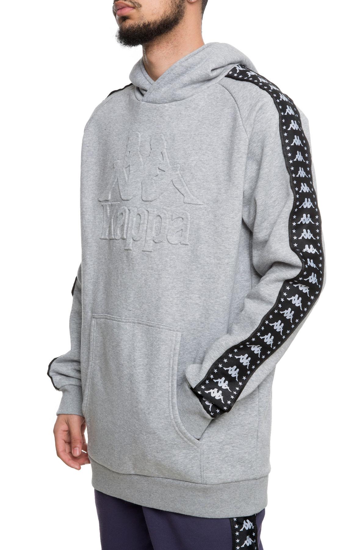 Kappa Men/'s Authentic Bzaleh Pullover Hoodie Grey// Black