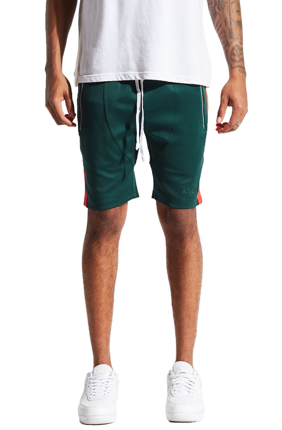 Image of The Bodnick Shorts in Forest Green and Red