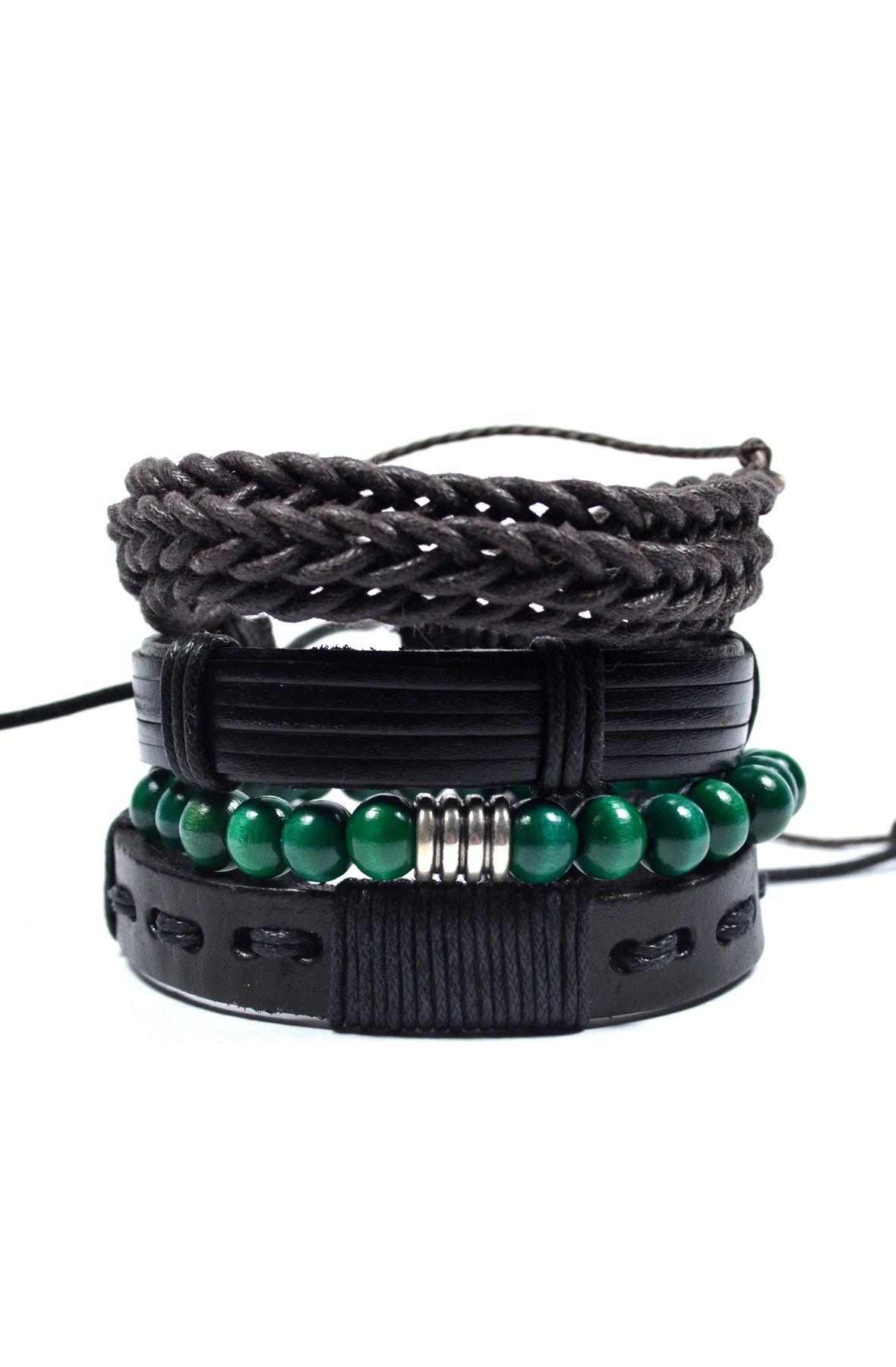 4 Pack Green and Black Men's Bracelet Set