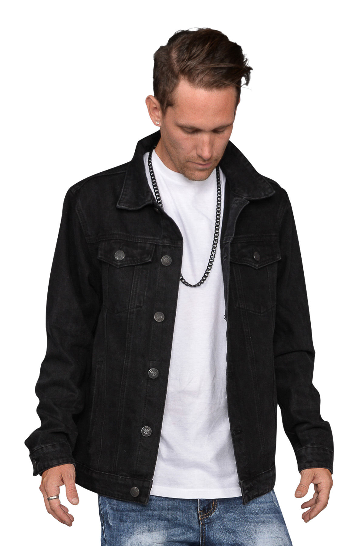 Image of The Senna Black Denim Jacket in Black