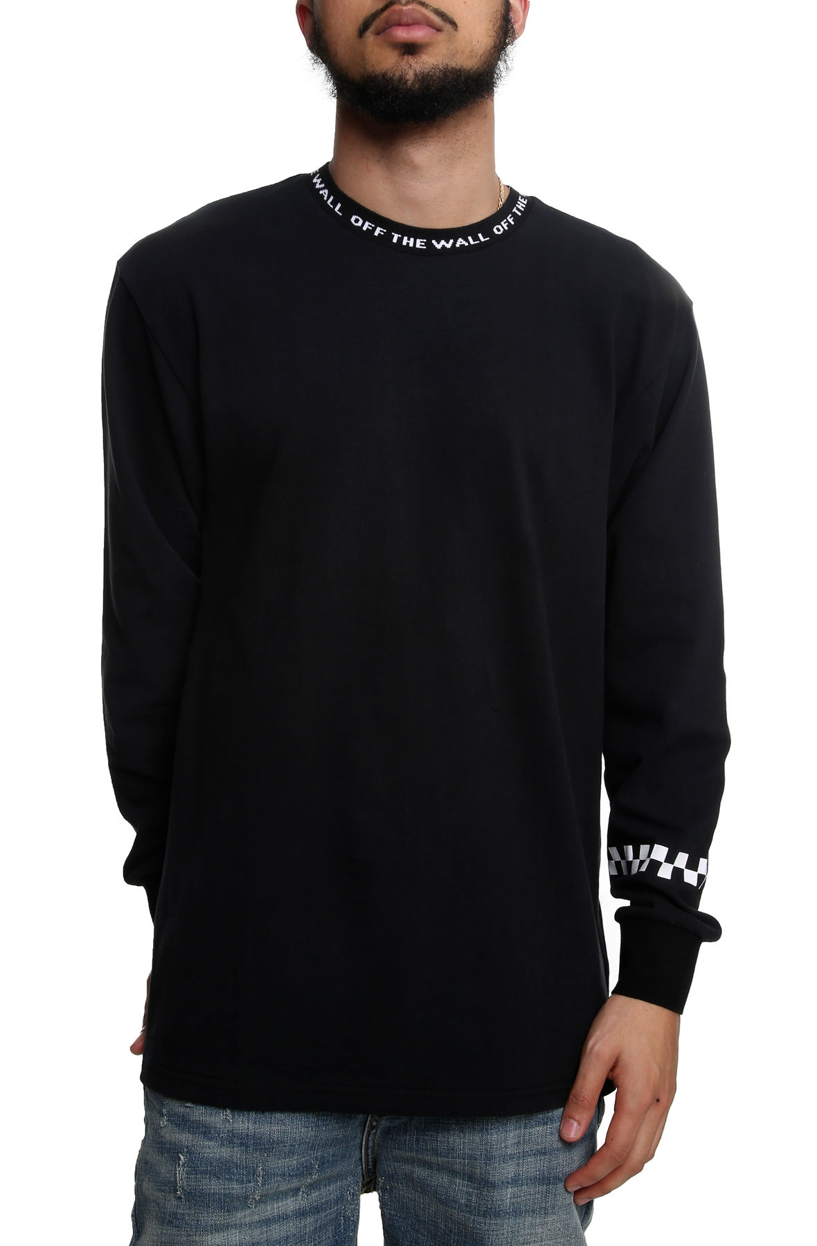 Image of The Off The Wall Jacquard Long Sleeve Tee in Black