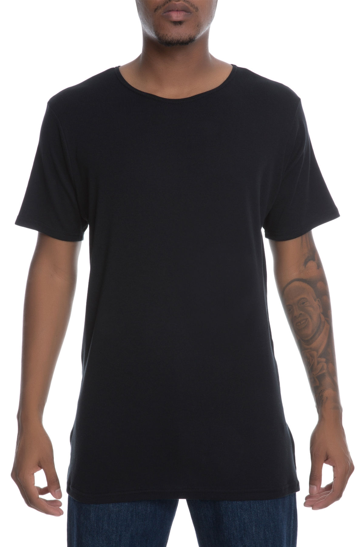Image of The Swish Short Sleeve Elongated Tee in Black