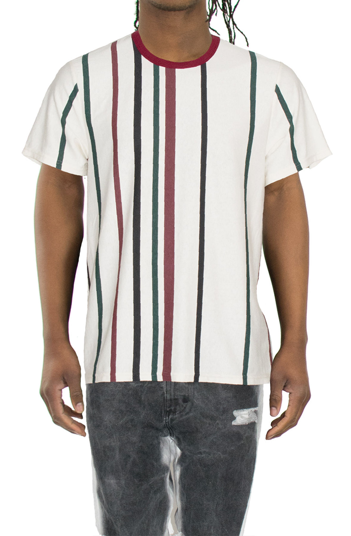 Image of The Burgundy Multi Stripe Short Sleeve Tee in Natural
