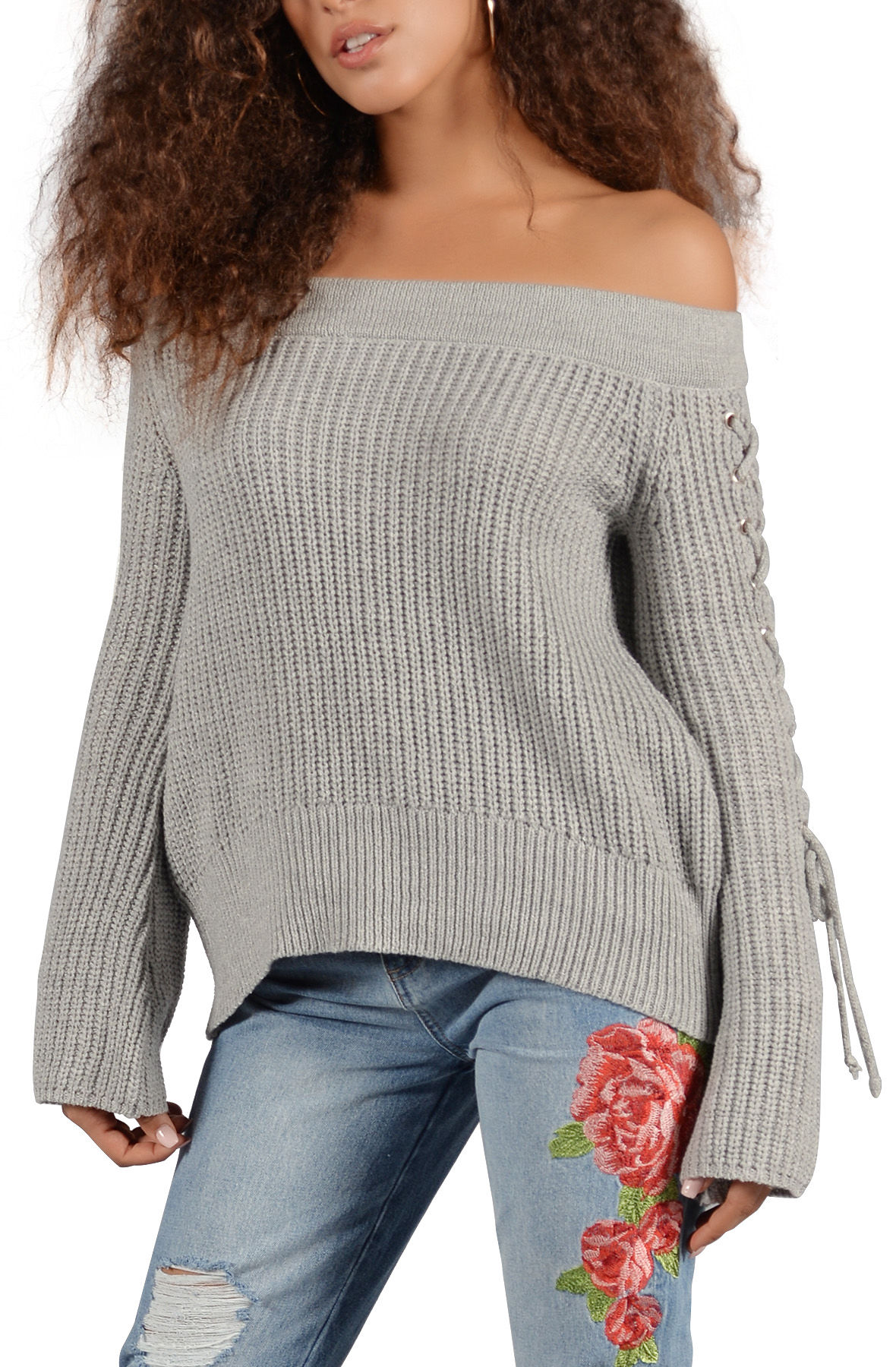 Off the Shoulder Knit Sweater with Lace Up Sleeves in Heather Grey