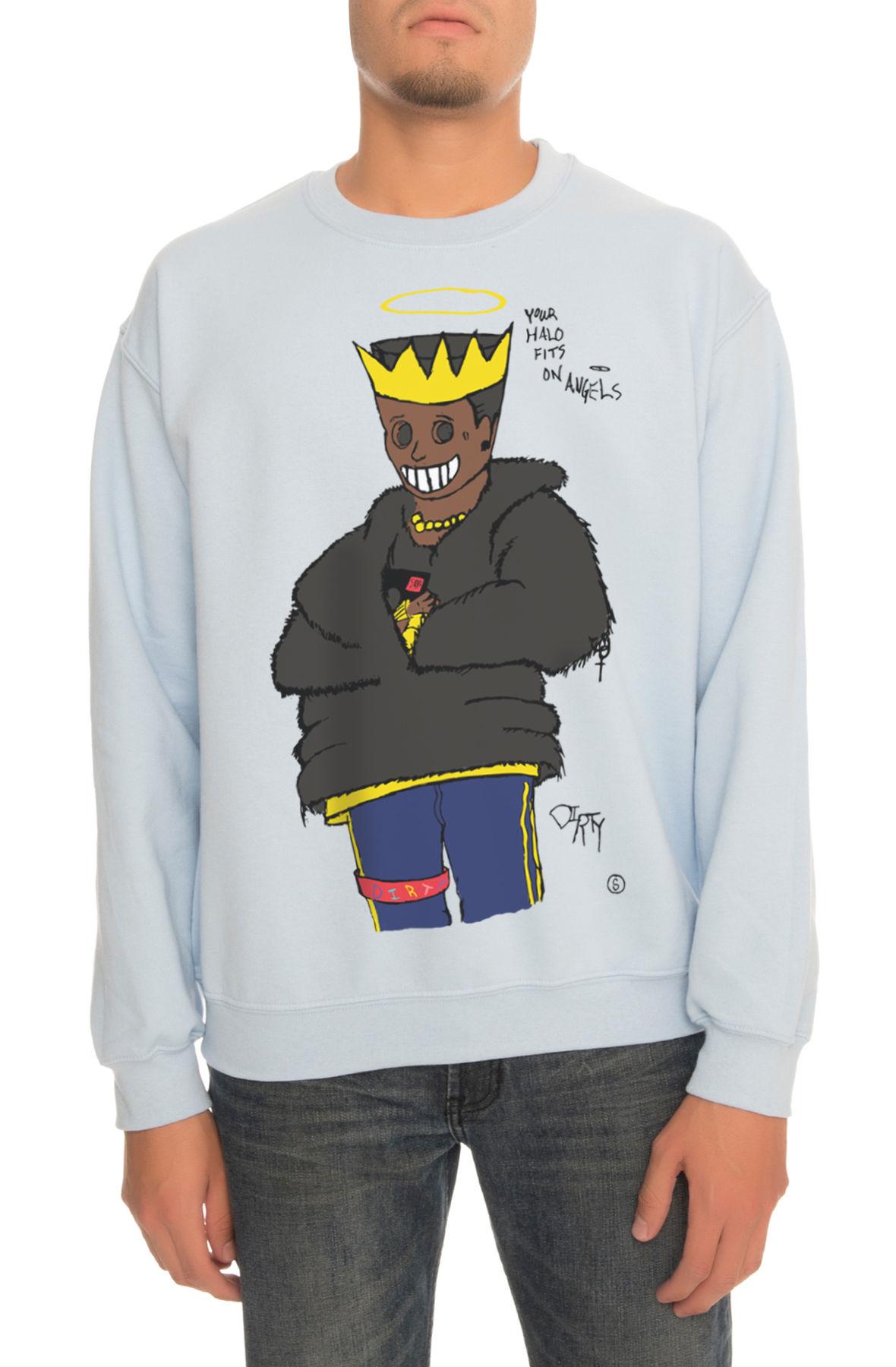 The Hey Low Crewneck Sweatshirt in Light Blue