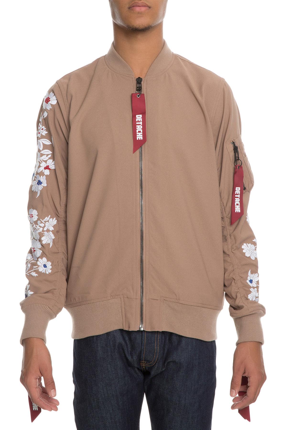 Image of The Cria Floral Bomber Jacket in Khaki Creme