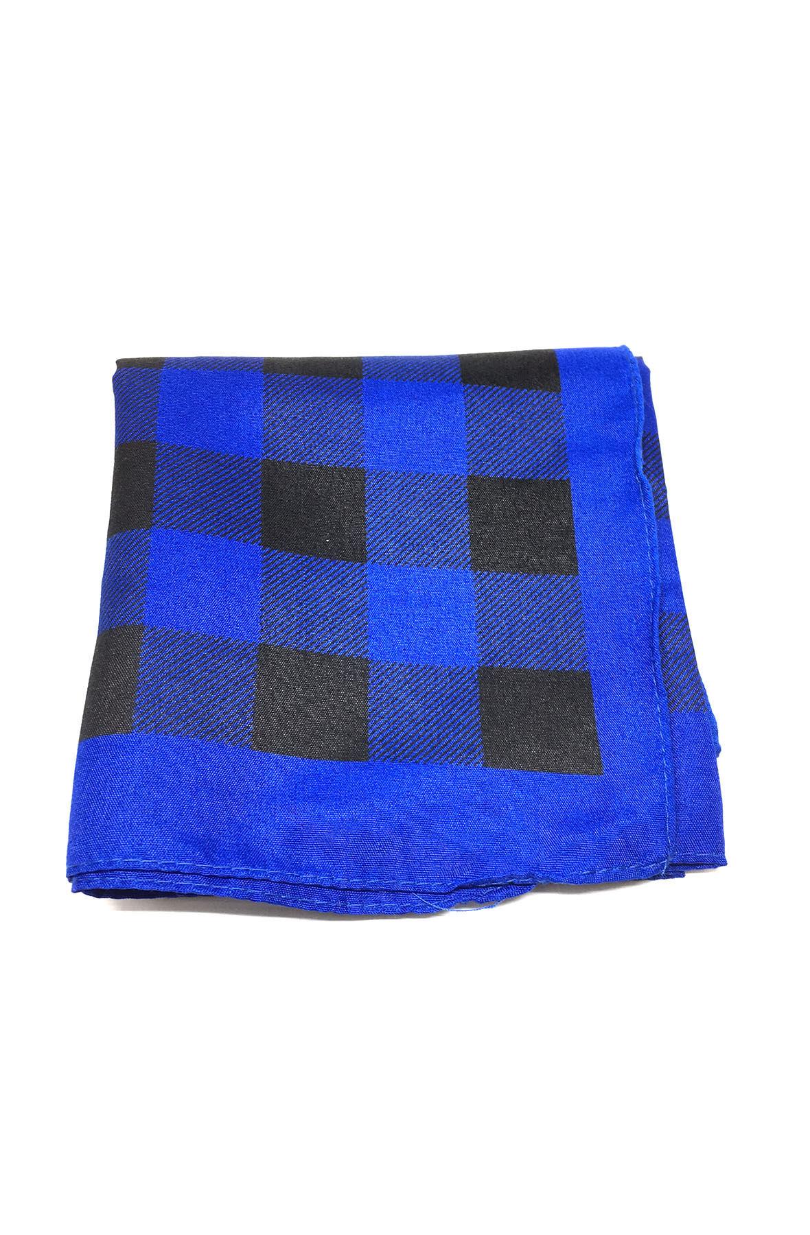 Image of Blue and Black Plaid Bandana