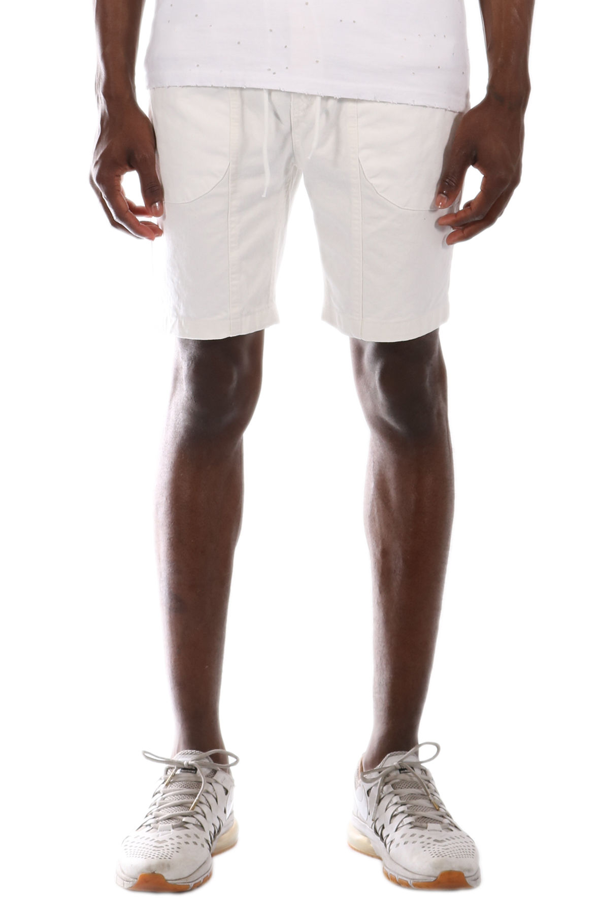 Image of The Allston Cotton Twill Metal Zipper Trim Elastic Banded Shorts in White