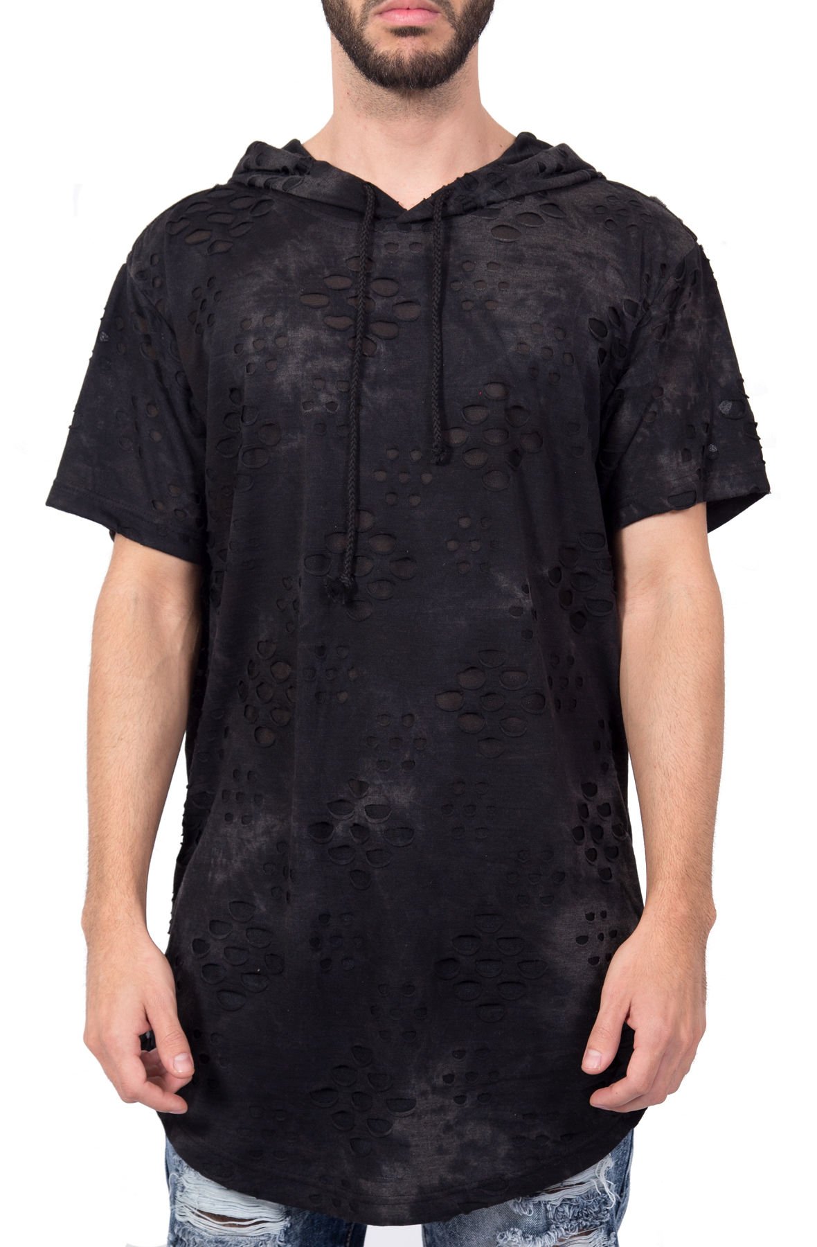 Image of Lightweight Distressed Short Sleeve Hoodie in Black