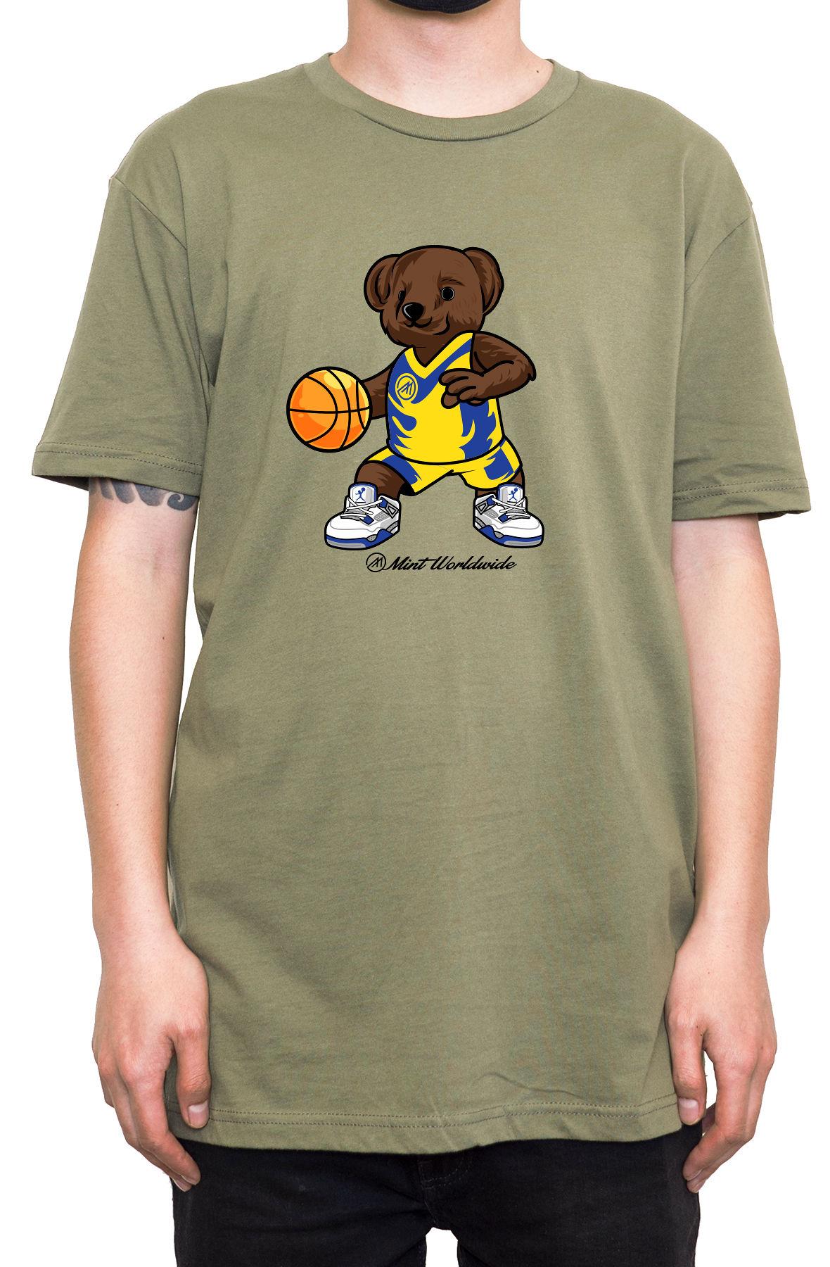 """BasketBall Bear T-shirt """" Army Green"""