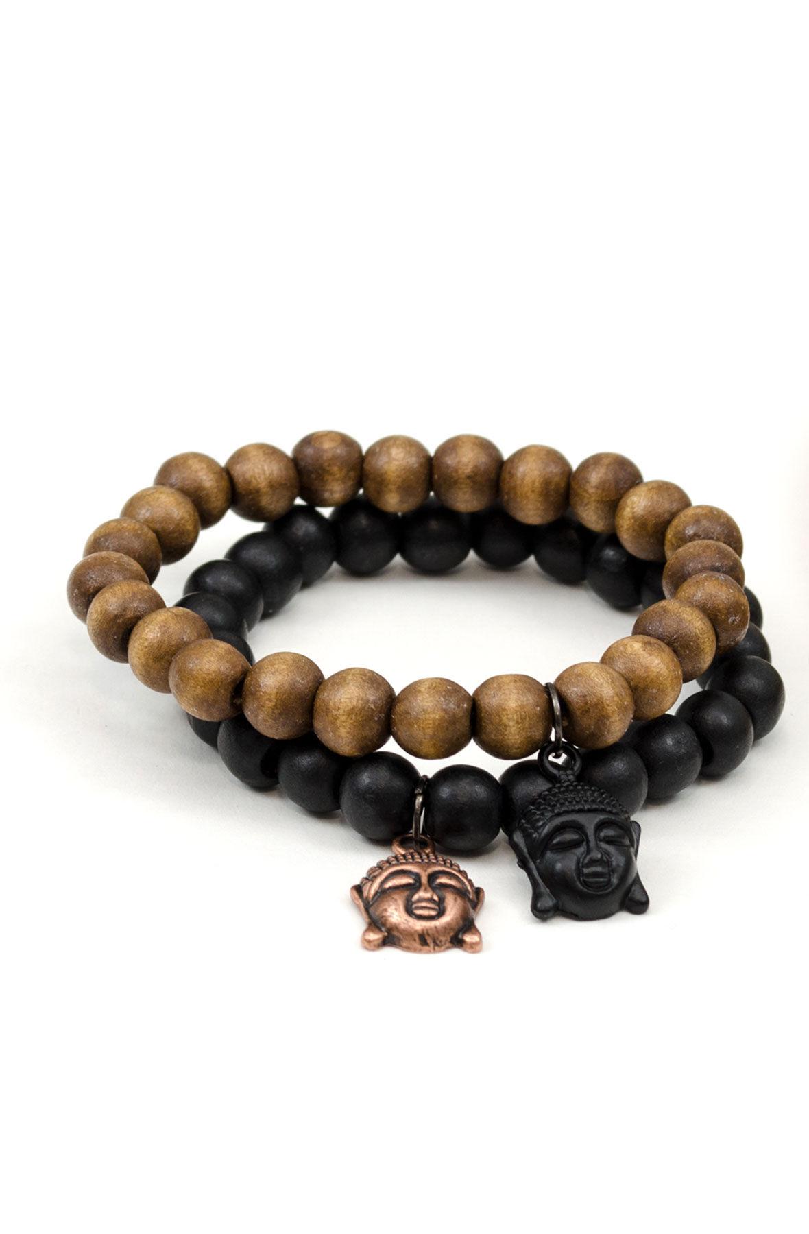 2 Pack Wood Beaded Bracelet Set / Buddha